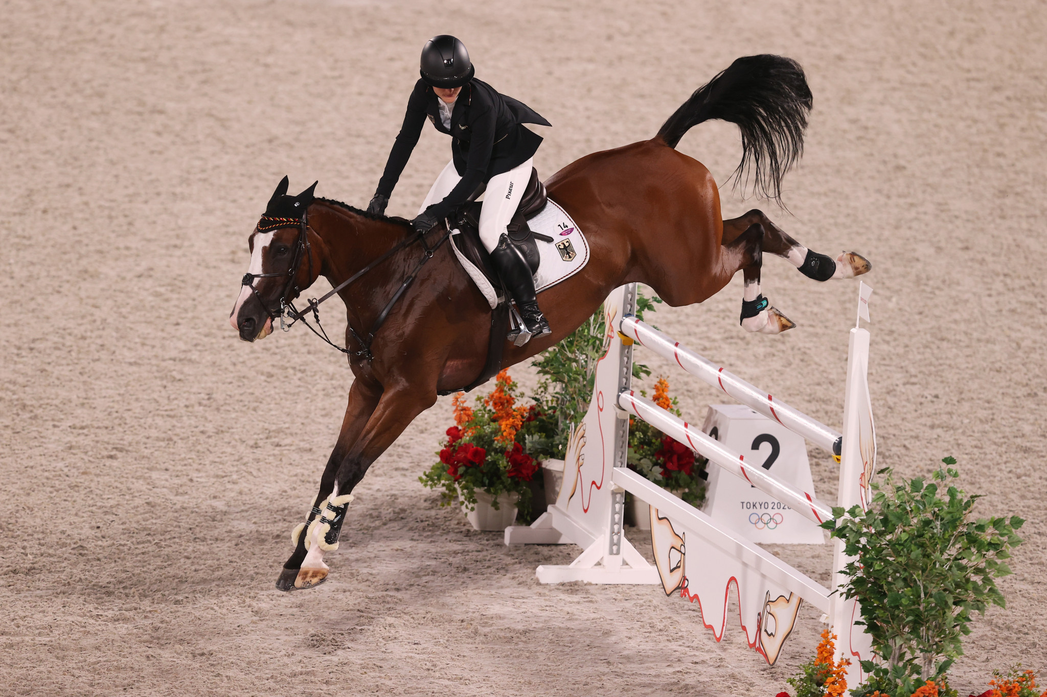 Julia Krajewski won the individial eventing title - with the German the fist woman to ever win the event ©Getty Images