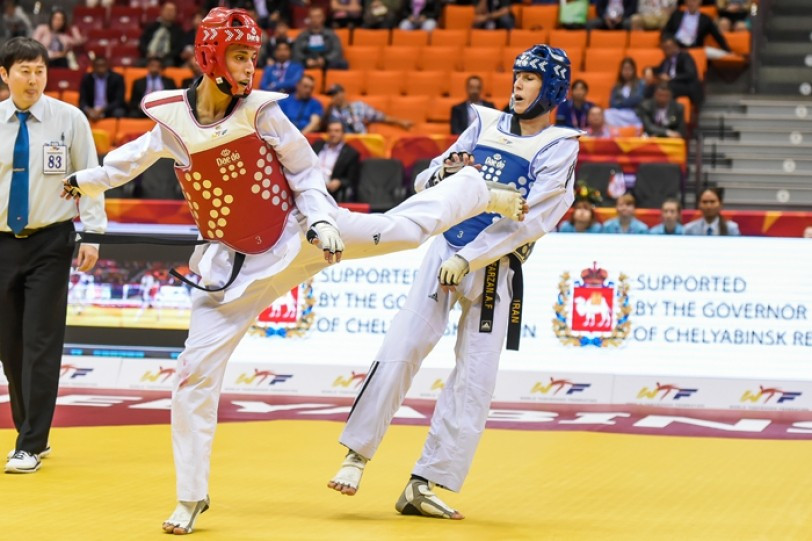 Si Mohammed Ketbi in action en route to his silver medal at the World Taekwondo Championships in Chelyabinsk ©WTF