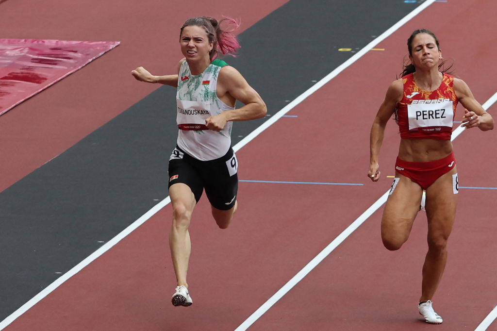 Krystsina Tsimanouskaya competed in the 100 metres heats but was withdrawn from the 200m by the NOCRB ©Getty Images