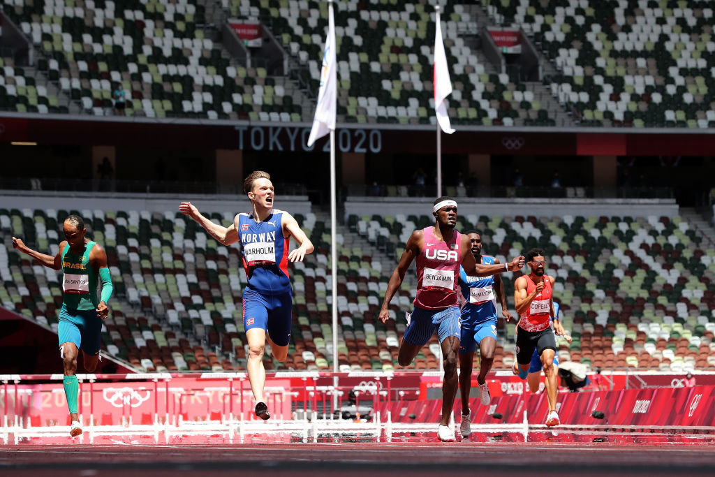 Norway's Karsten Warholm comes home ahead of Rai Benjamin of the United States to lower his own world record to 45.94sec in winning the Olympic men's 400m hurdles title ©Getty Images