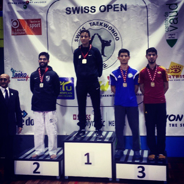 Si Mohamed Ketbi pictured on the top of the podium after winning the gold medal at the Swiss Open in 2015 ©Instagram