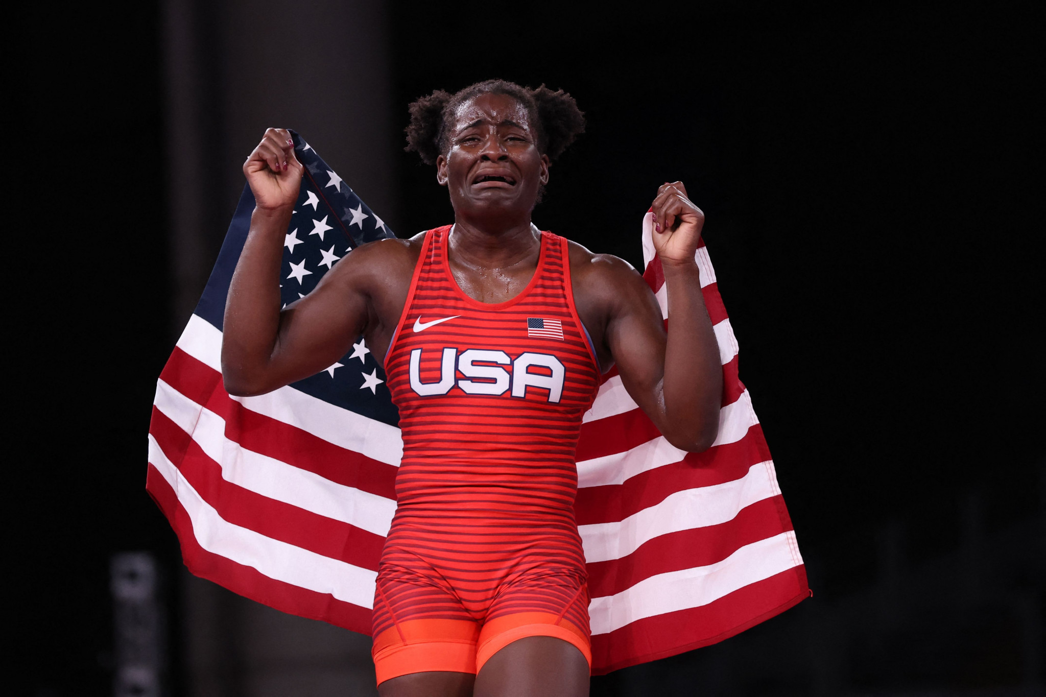 Tamyra Mensah-Stock cried tears of joy after becoming Olympic champion ©Getty Images