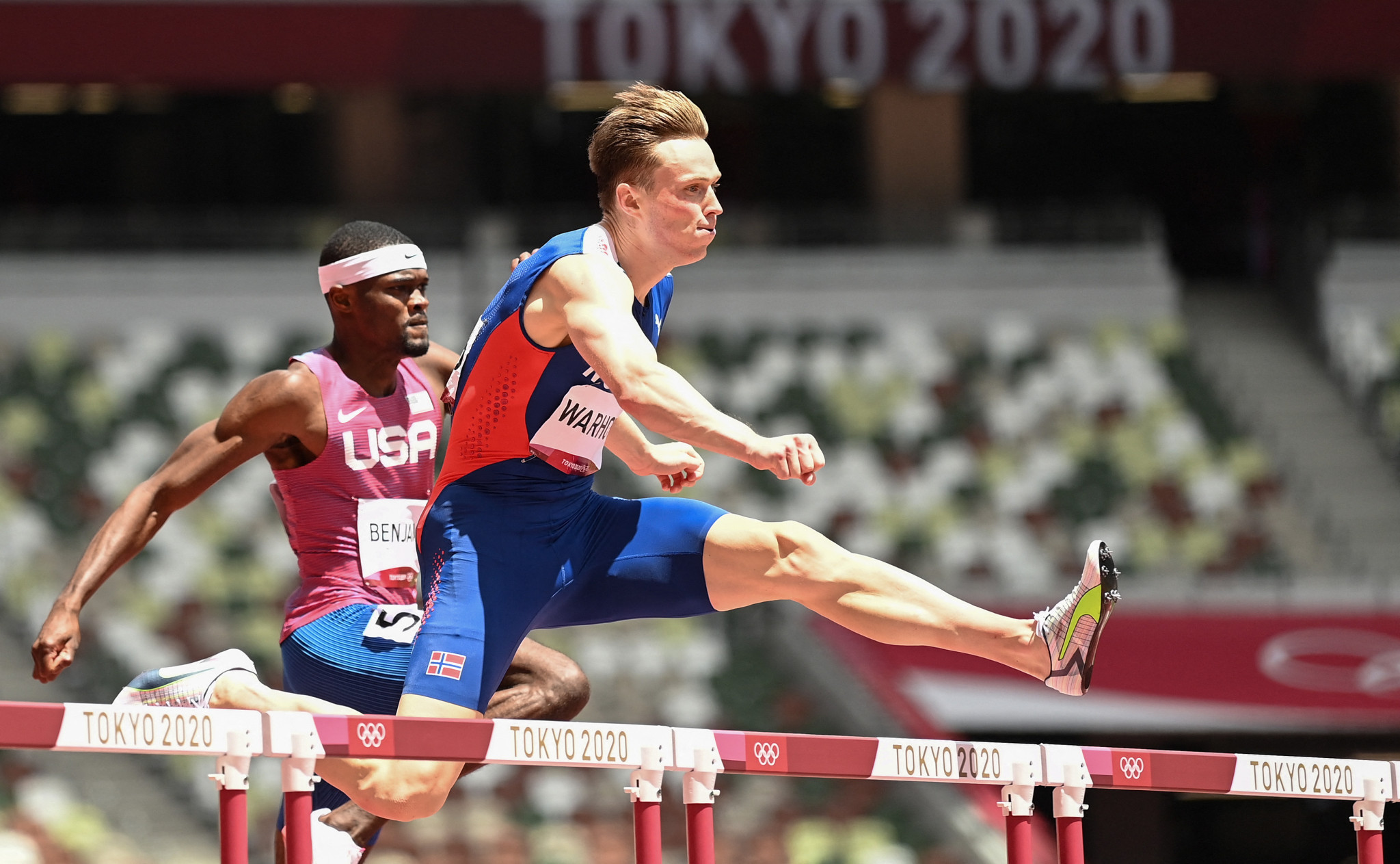 On the track, the day belonged to Norway's Karsten Warholm, who set a stunning 400m hurdles world record of 45.94sec - shaving 0.76 off his previous mark ©Getty Images
