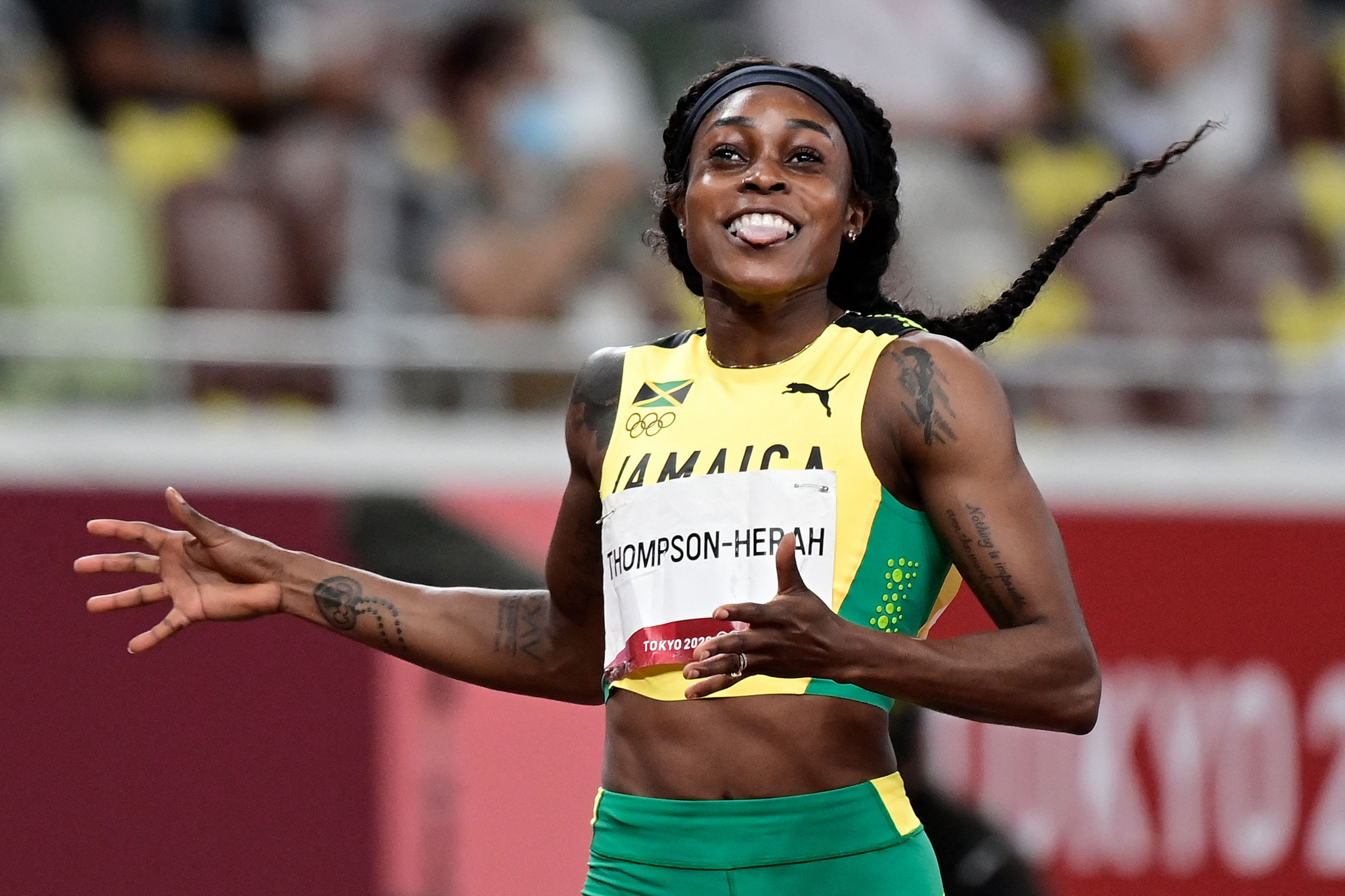 Jamaica's Elaine Thompson-Herah won the women's 200m, completing a so-called double-double - back-to-back Olympic 100m and 200m titles ©Getty Images