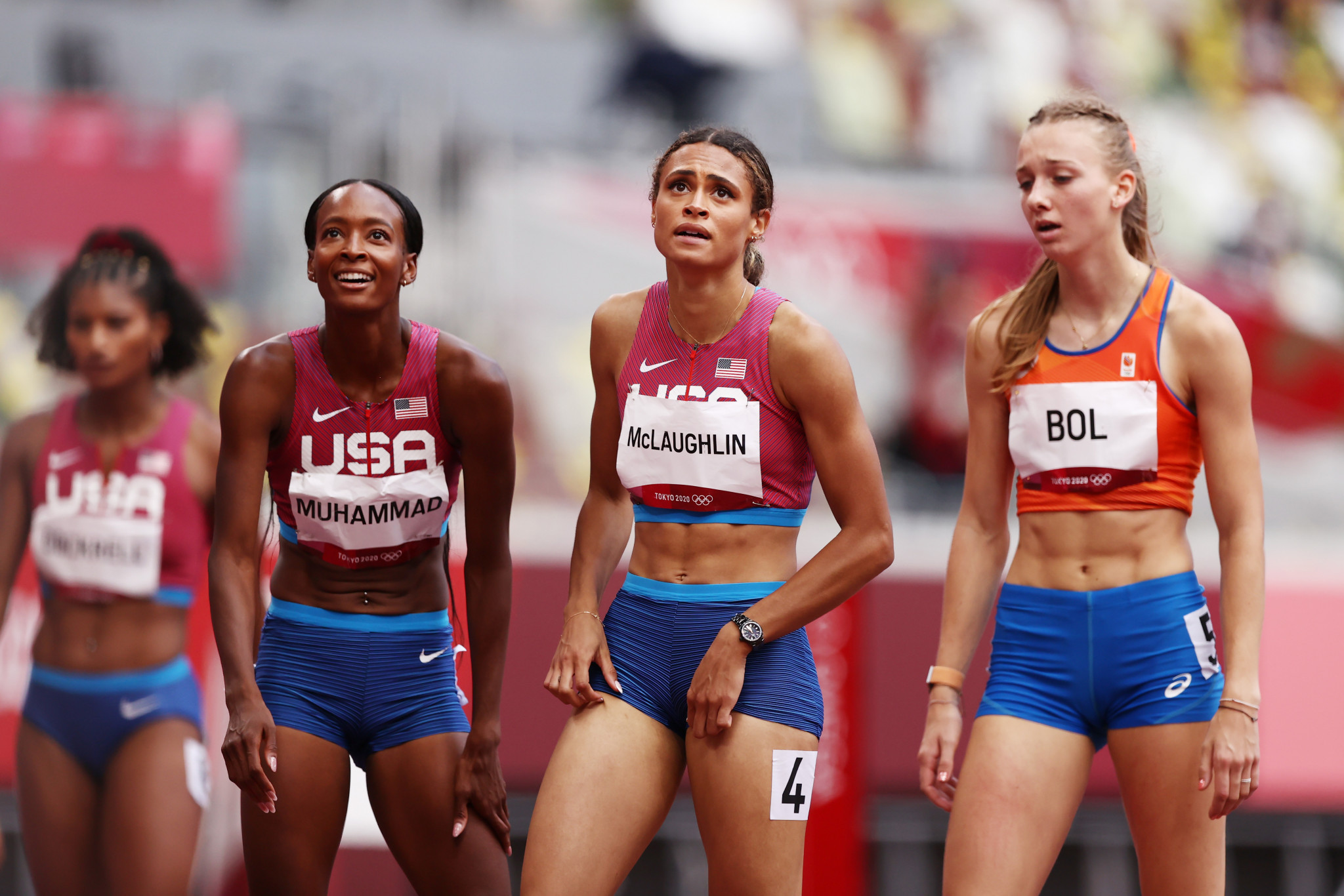 Second-place Dalilah Muhammad of the United States, left, and Dutchwoman Femke Bol, right, completed the podium and both ran times which until this year would have been world record-worthy ©Getty Images