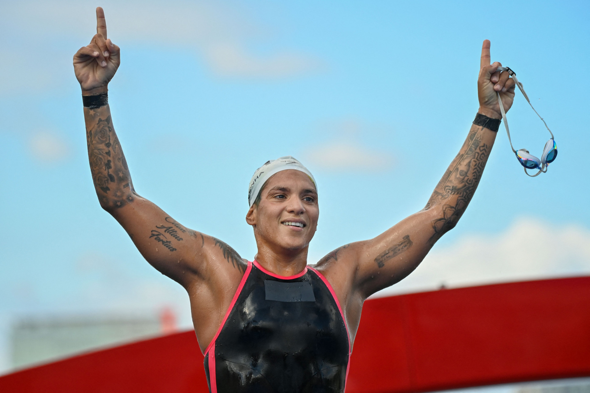 Five-time world champion Ana Marcela Cunha of Brazil won the first medal of the day, finally adding Olympic silverware to her collection by finishing first in the women's 10km swim ©Getty Images
