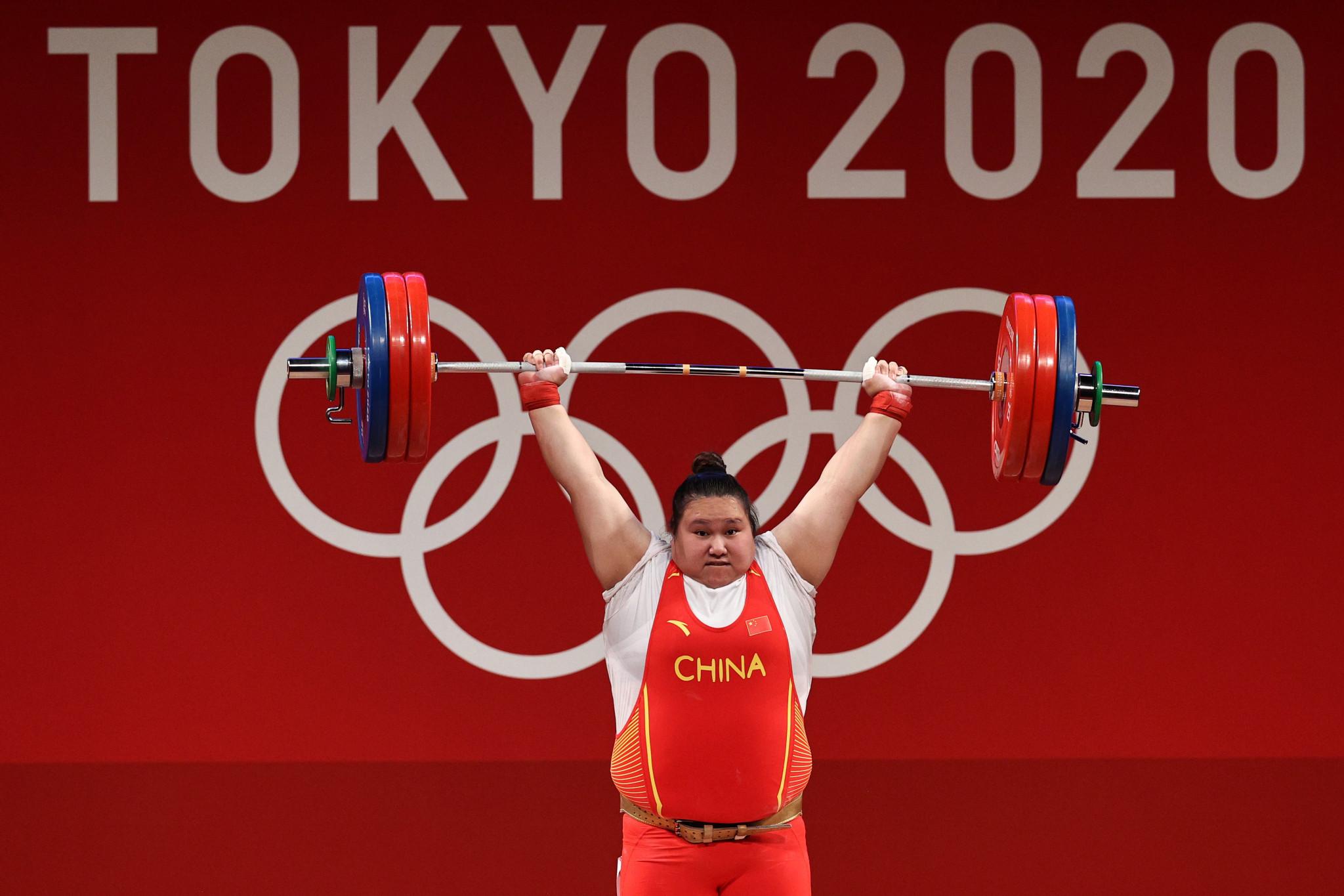 Ο Li Wenwen ήταν ένας από τους Κινέζους χρυσούς μετάλλους στην άρση βαρών στο Τόκιο 2020 © Getty Images