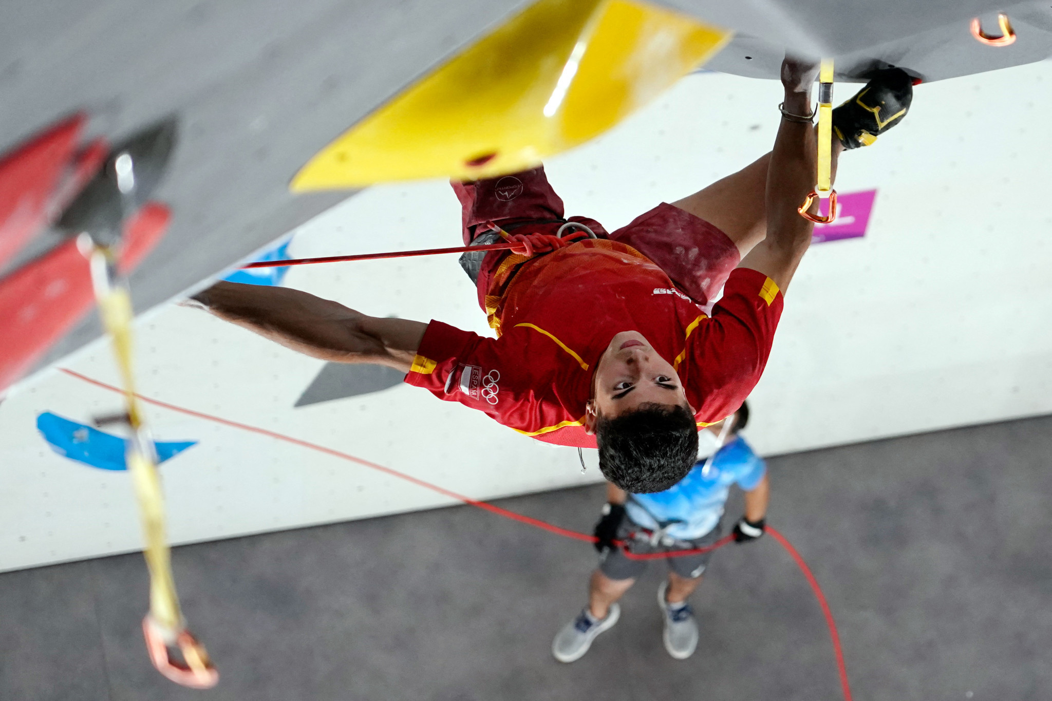 Spanish teenager Alberto Ginés López won the first-ever Olympic sport climbing gold medal, winning the speed portion of the combined final ©Getty Images