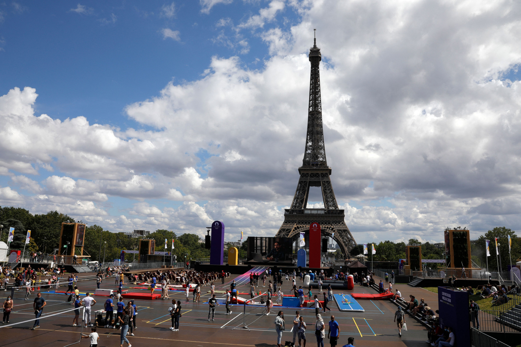 A giant flag will be flown from the Eiffel Tower as part of the handover ceremony ©Getty Images