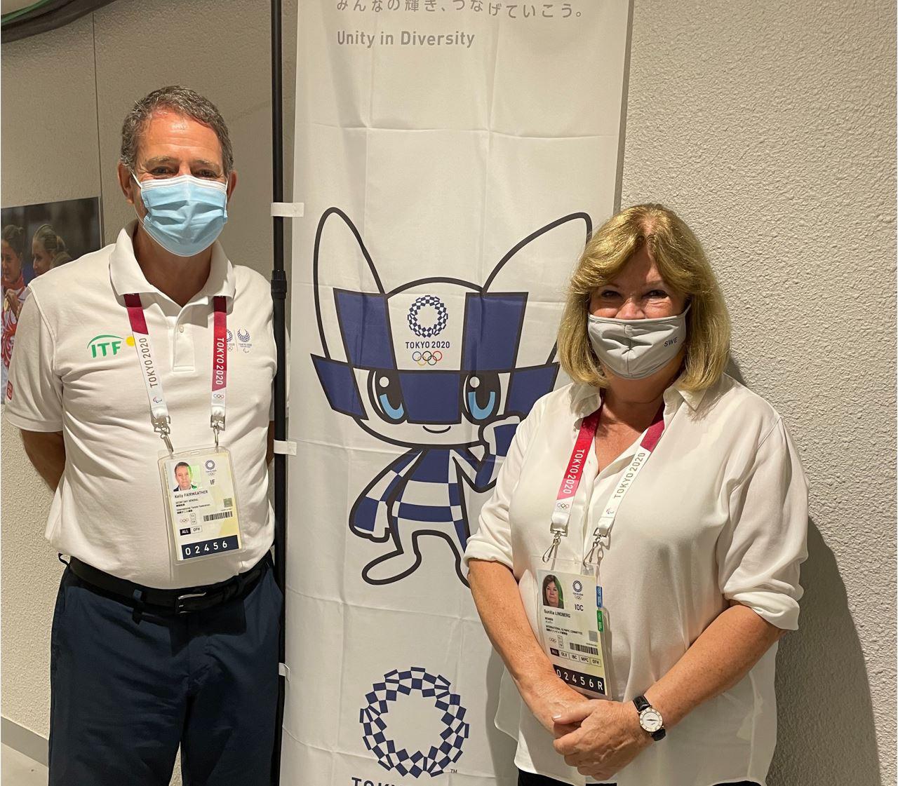 Gunilla Lindberg, right, also met with International Tennis Federation President Kelly Fairweather at Tokyo 2020 ©ANOC