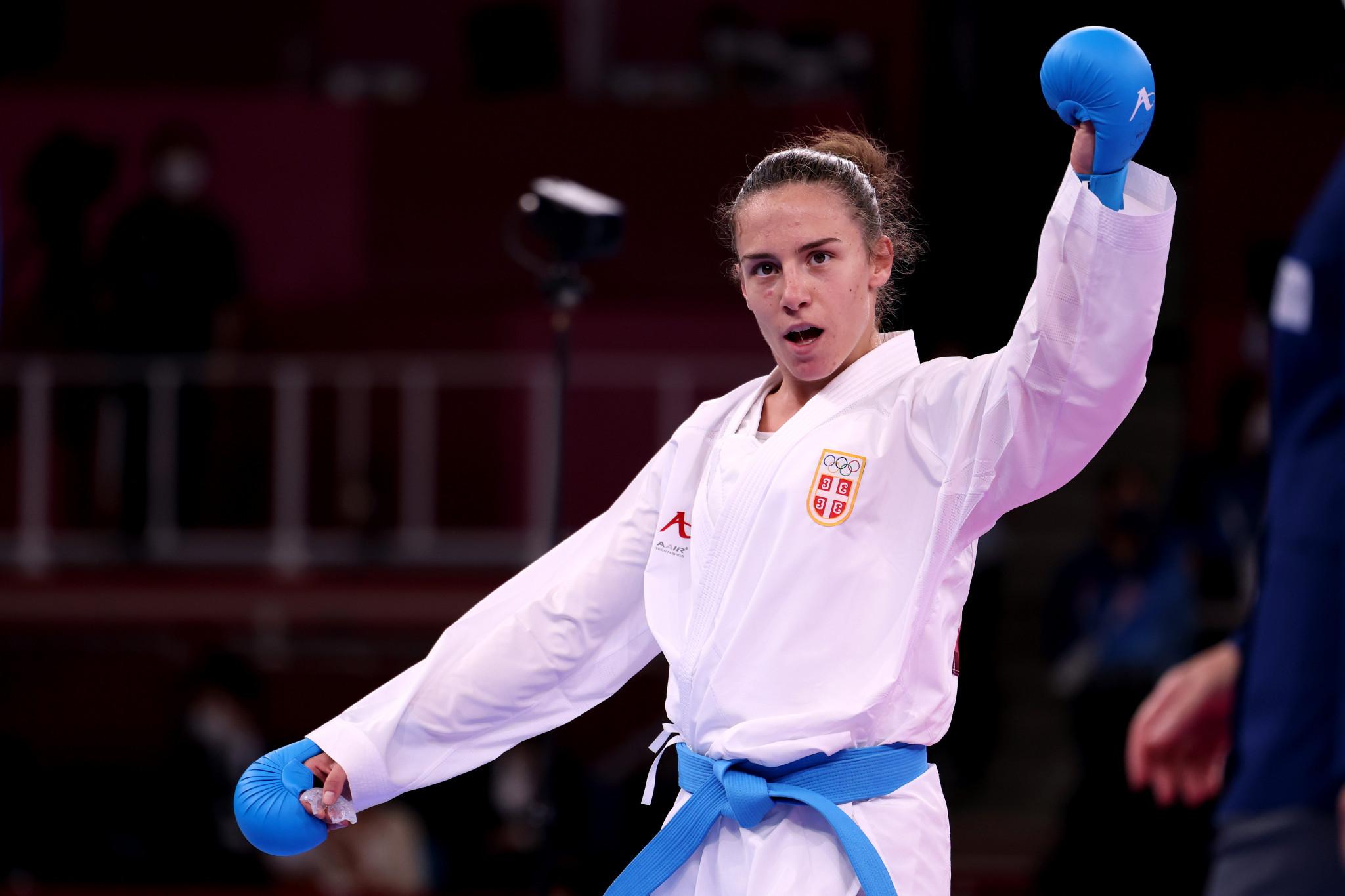World champion Yovana Prekovic won the women's under-61kg kumite category by a hantei, or majority verdict ©Getty Images