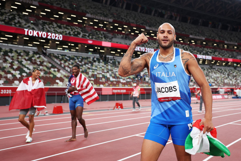 Marcell Jacobs won 100m gold at the Tokyo 2020 Olympics in a time of 9.80sec, before adding relay gold in the 4x100m ©Getty Images