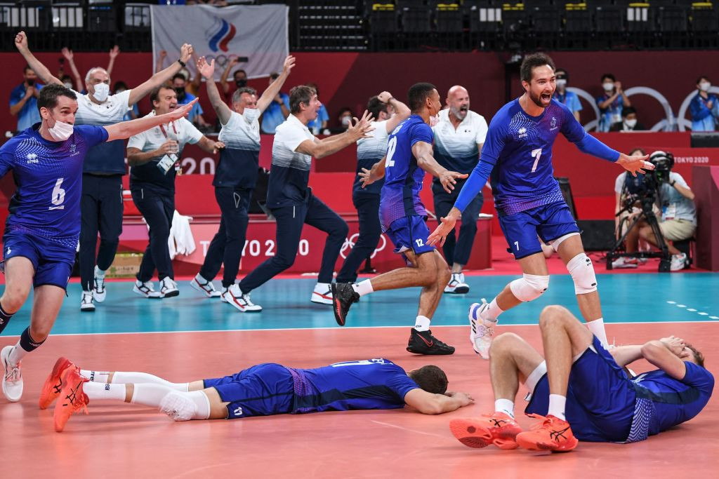 France beat the ROC in five sets to claim an historic Olympic gold medal ©Getty Images