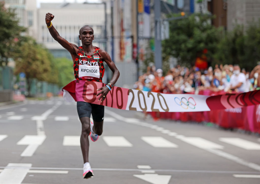 Eliud Kipchoge's winning margin of 80 seconds as he retained his Olympic men's marathon title was the biggest since Frank Shorter's victory at Munich 1972 ©Getty Images