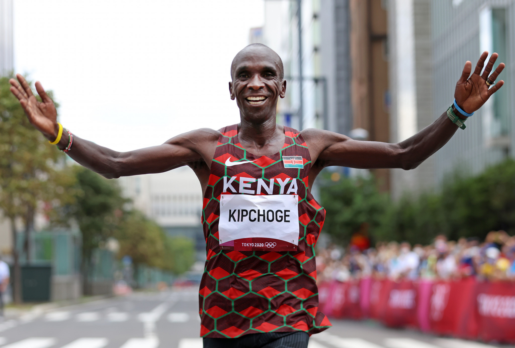 Eliud Kipchoge defended his men's marathon Olympic title, continuing Kenya's dominance of the long distance events ©Getty Images