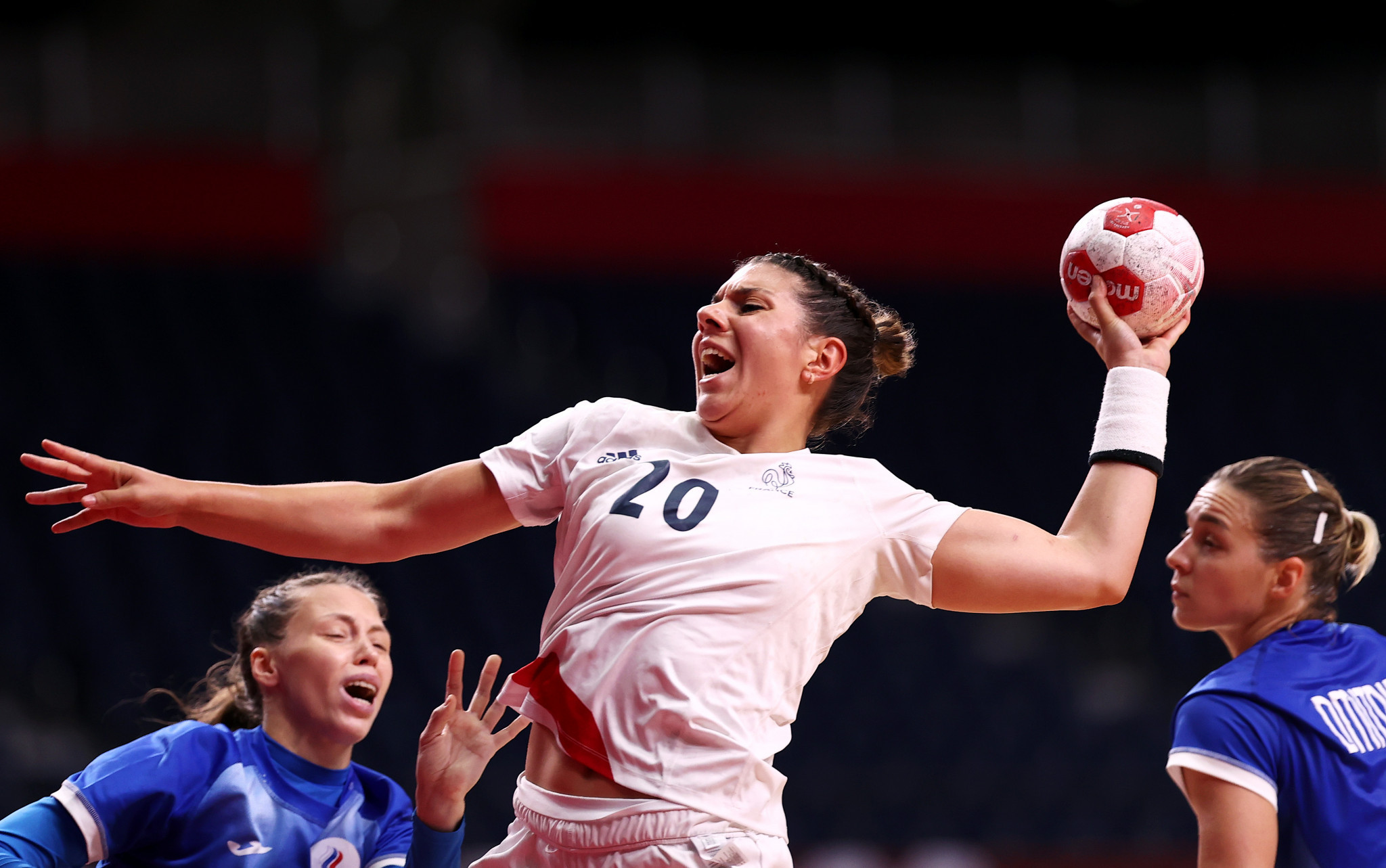 France, playing in white, won the women's handball title, a day after the country's men's team were also victorious ©Getty Images