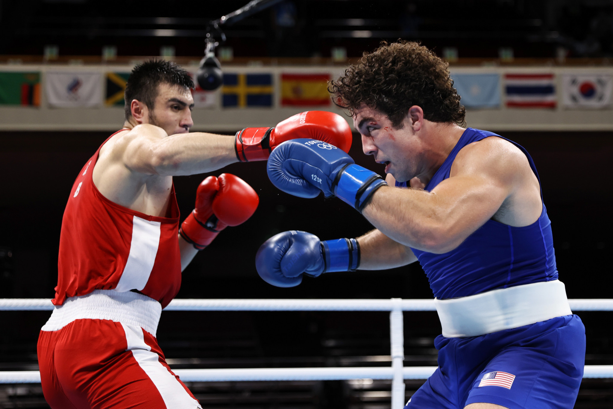 Bakhodir Jalalov, in red, won the men's super-heavy boxing category after defeating Richard Torrez Jr of the United States ©Getty Images