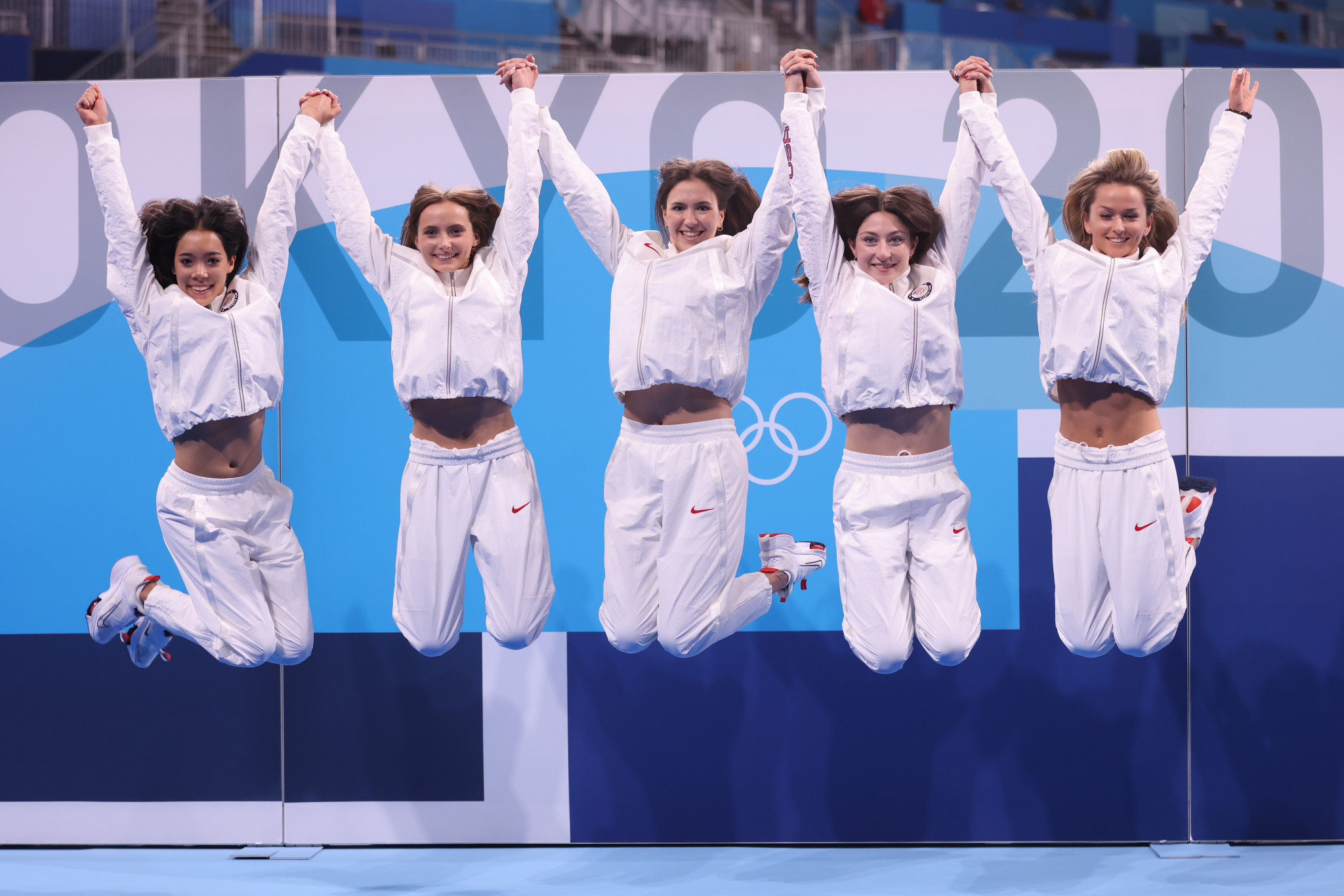 The United States rhythmic gymnastics team were flying high despite not reaching the final at the Ariake Arena ©Getty Images