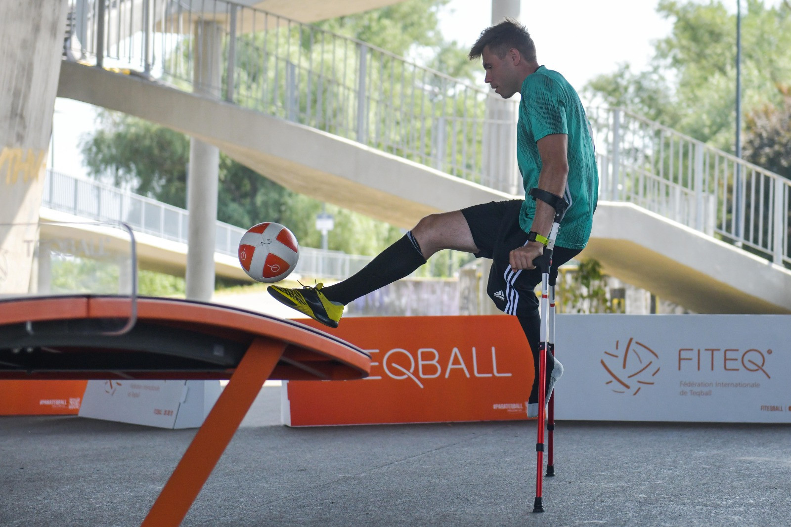 Amputee players from Legia Warsaw attended the Para teqball event ©FITEQ