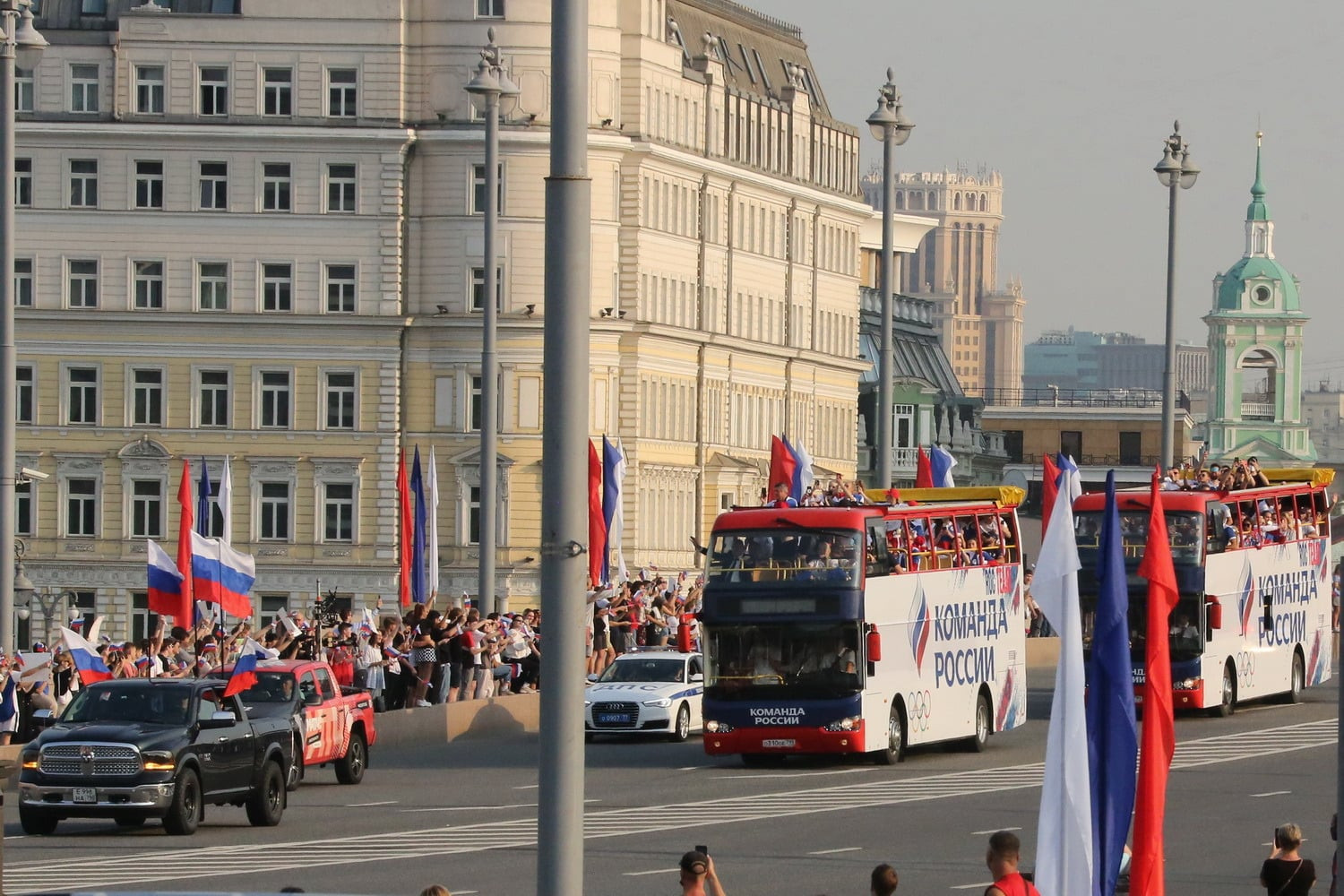 ROC Olympic team welcomed back to Moscow for Red Square celebration