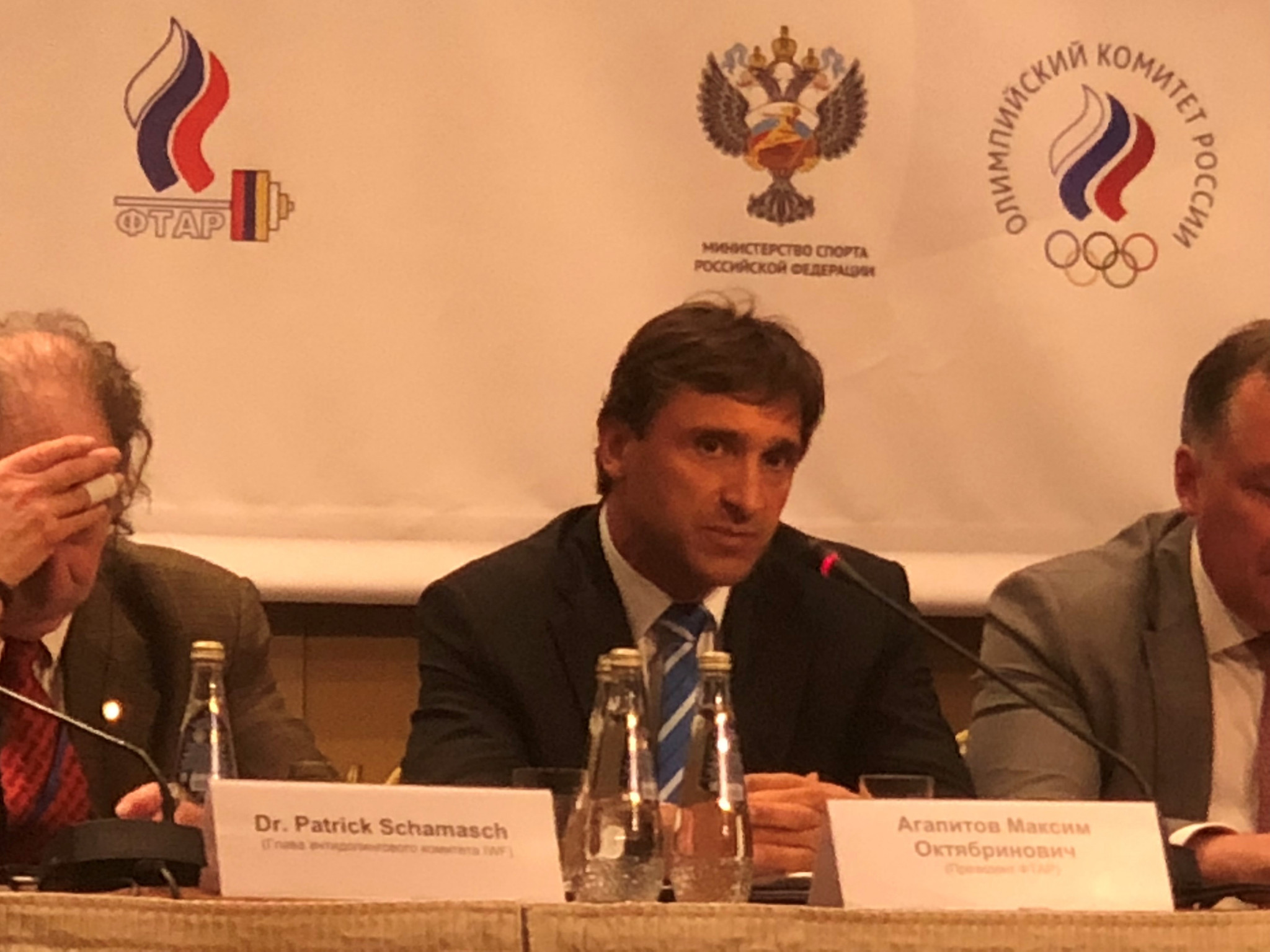 EWF Acting President Maxim Agapitov, centre, used official EWF channels to make allegations against weightlifting officials ©ITG