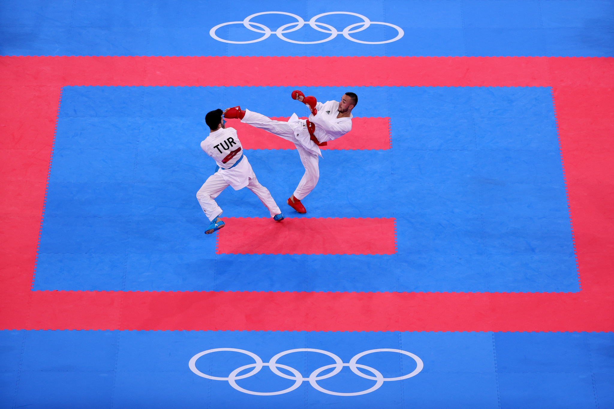 Steven Da Costa, right, is one of the main campaigners for karate to feature at Paris 2024 ©Getty Images