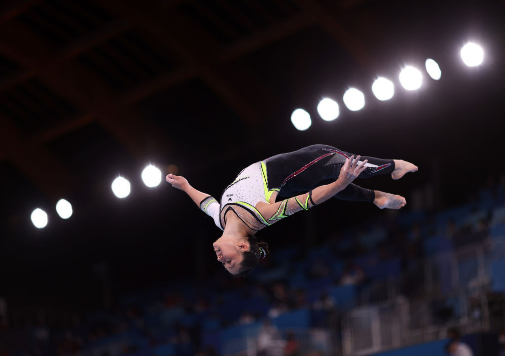 The German women's artistic gymnastics team wore full-length unitards at the Tokyo 2020 Olympic Games ©Getty Images