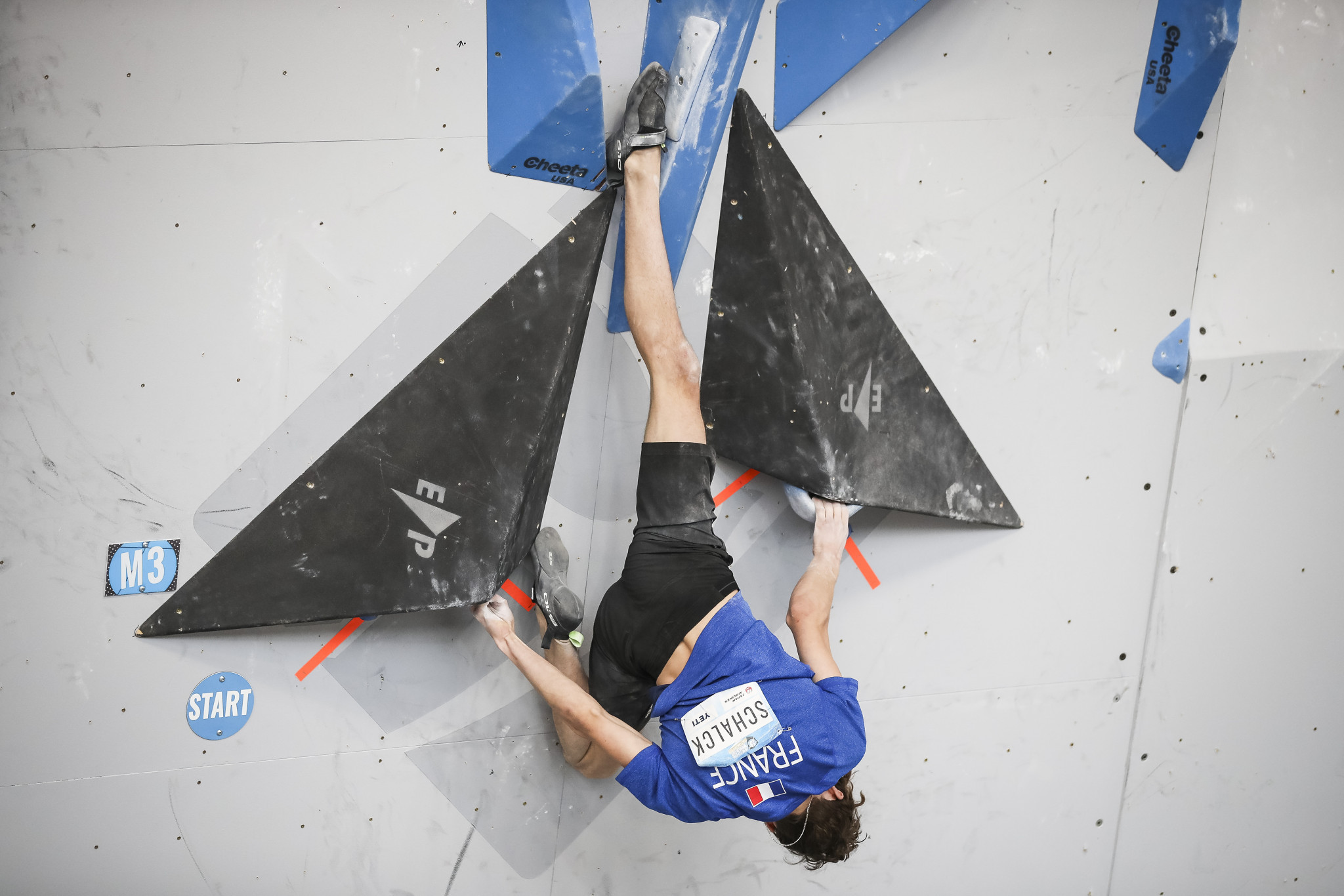 Mejdi Schalck impressed in qualification for the youth A men's boulder event ©Getty Images