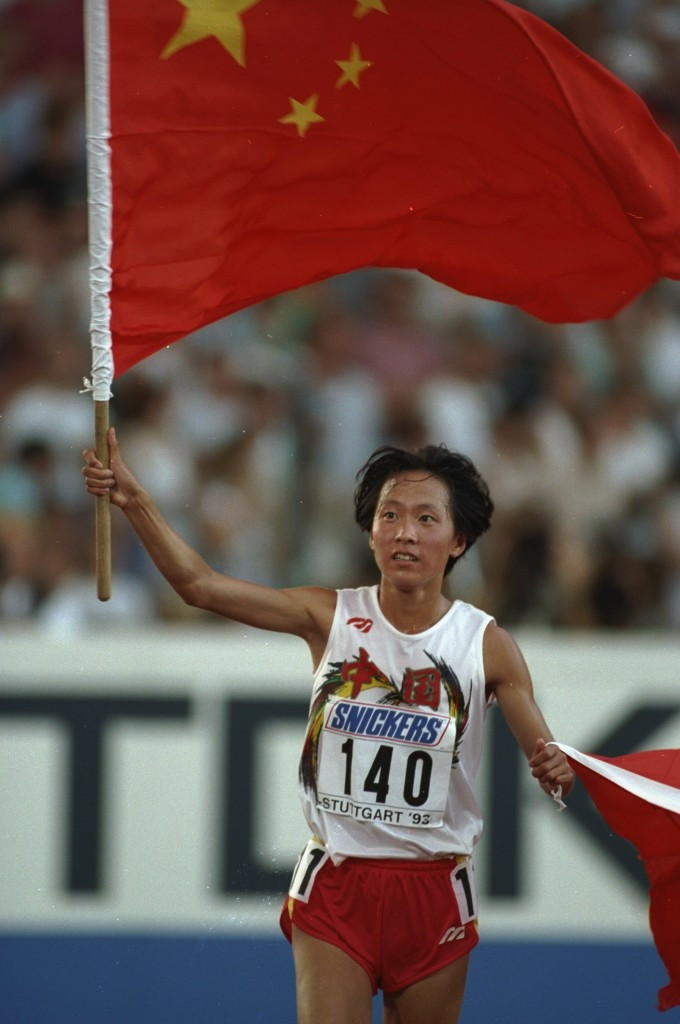 Wang Junxia celebrates winning gold at the 1993 World Championships ©Getty Images