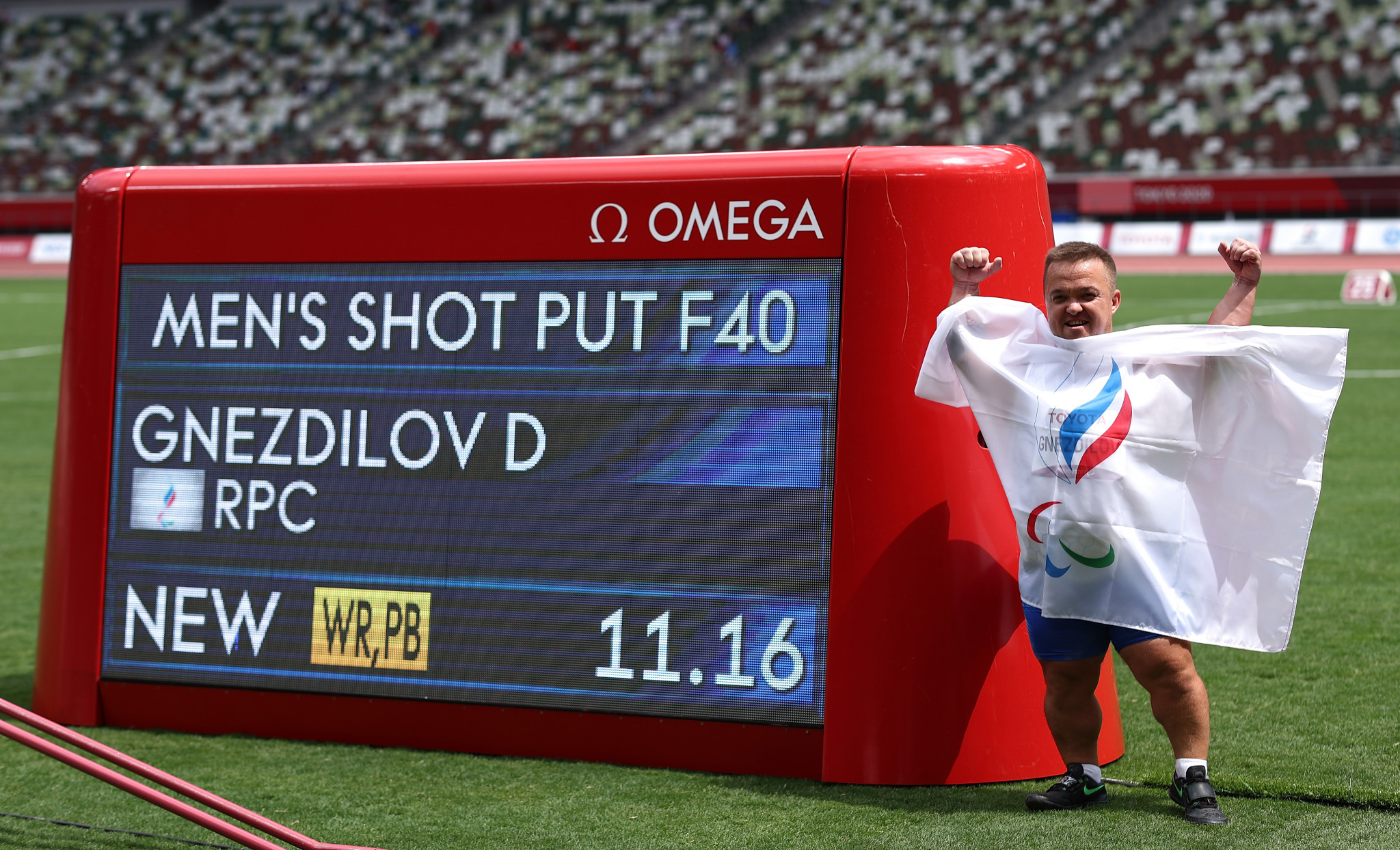 Denis Gnezdilov set a new world record in winning gold in the shot put F40 at the Tokyo 2020 Paralympics ©Getty Images
