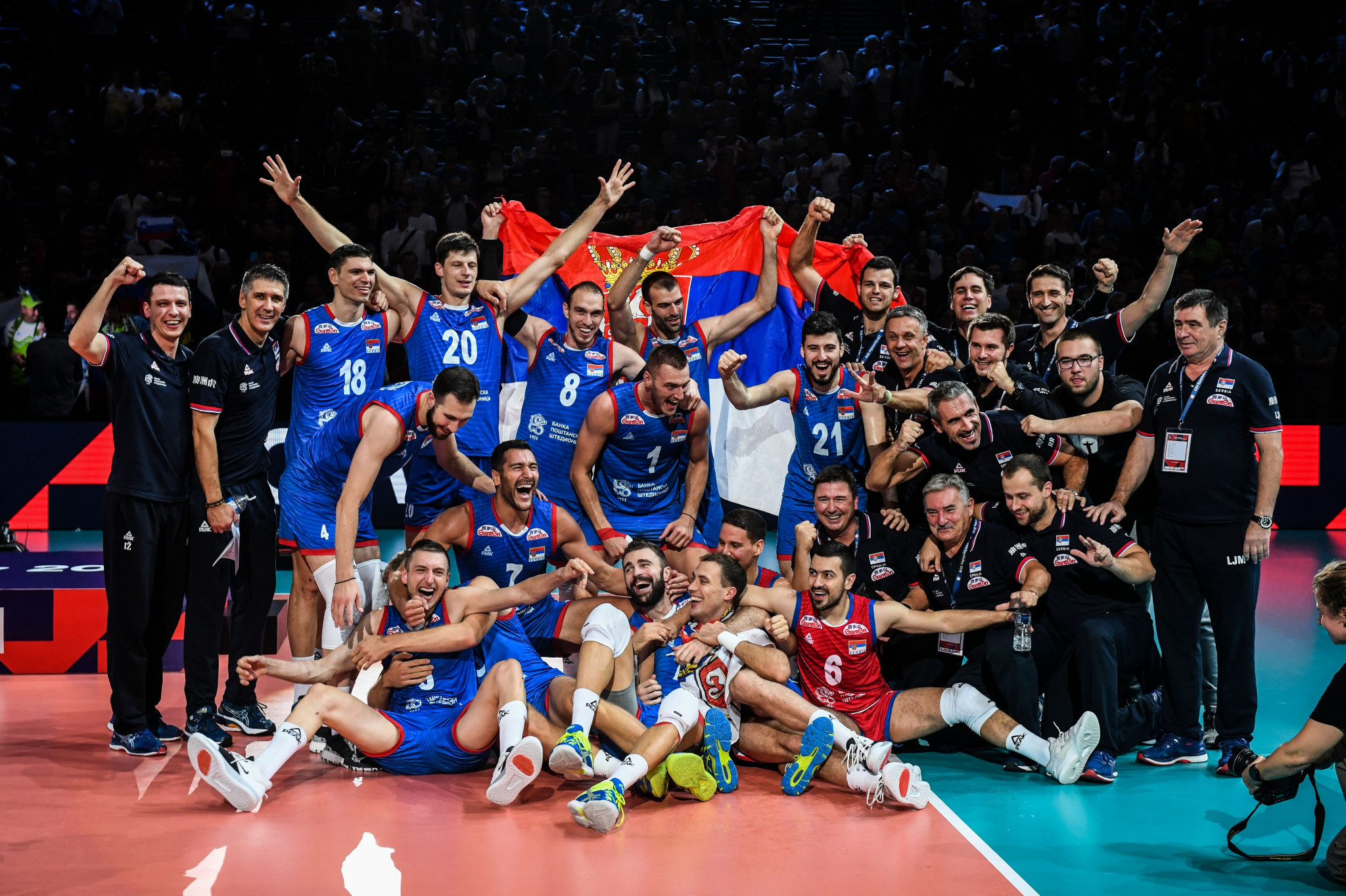 Serbia are the Men's European Volleyball Championship defending champions after beating Slovenia in Paris in 2019 ©Getty Images