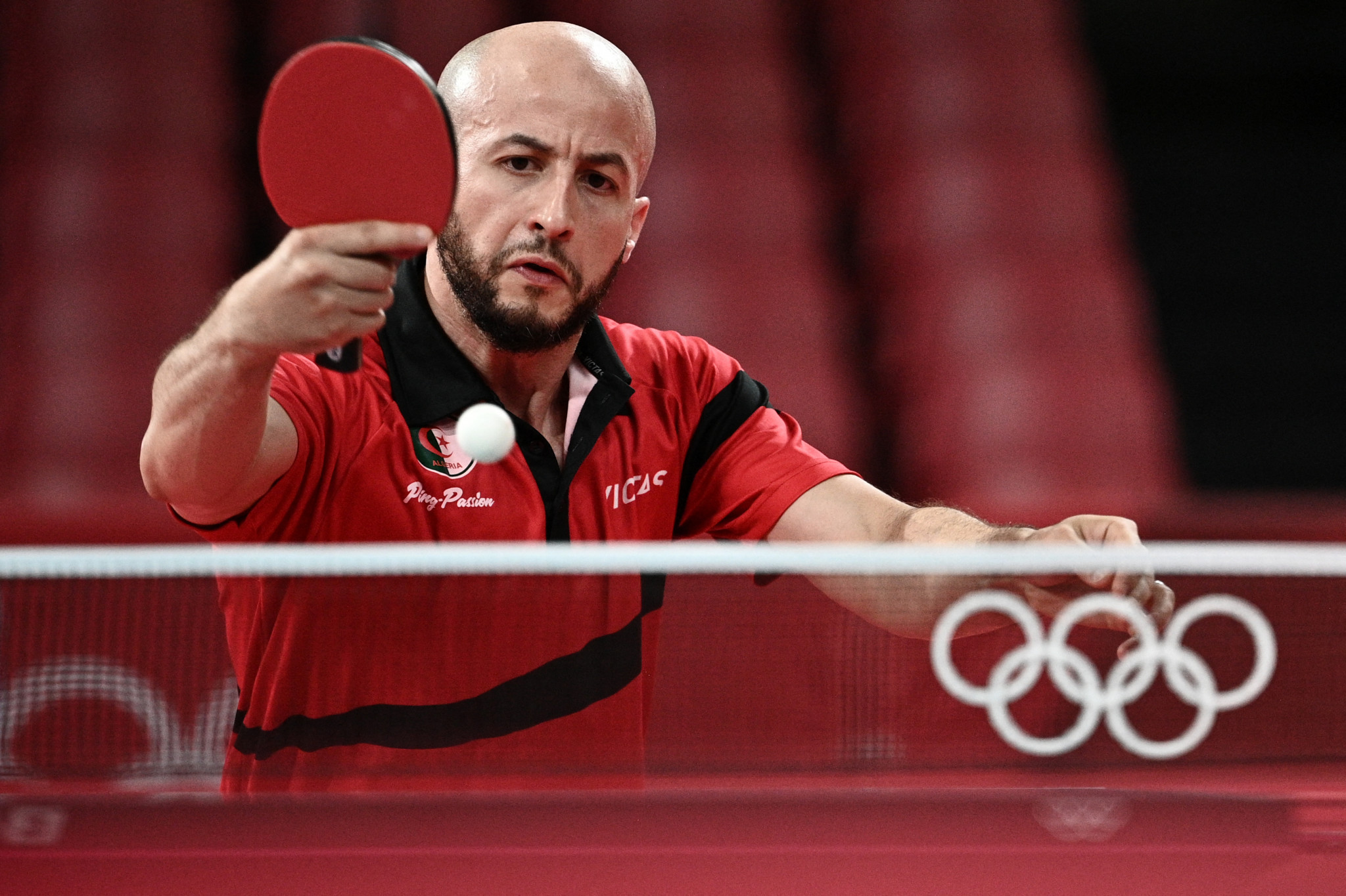 Larbi Bouriah was eliminated in the first round of the men's singles event at the Tokyo 2020 Olympic Games ©Getty Images