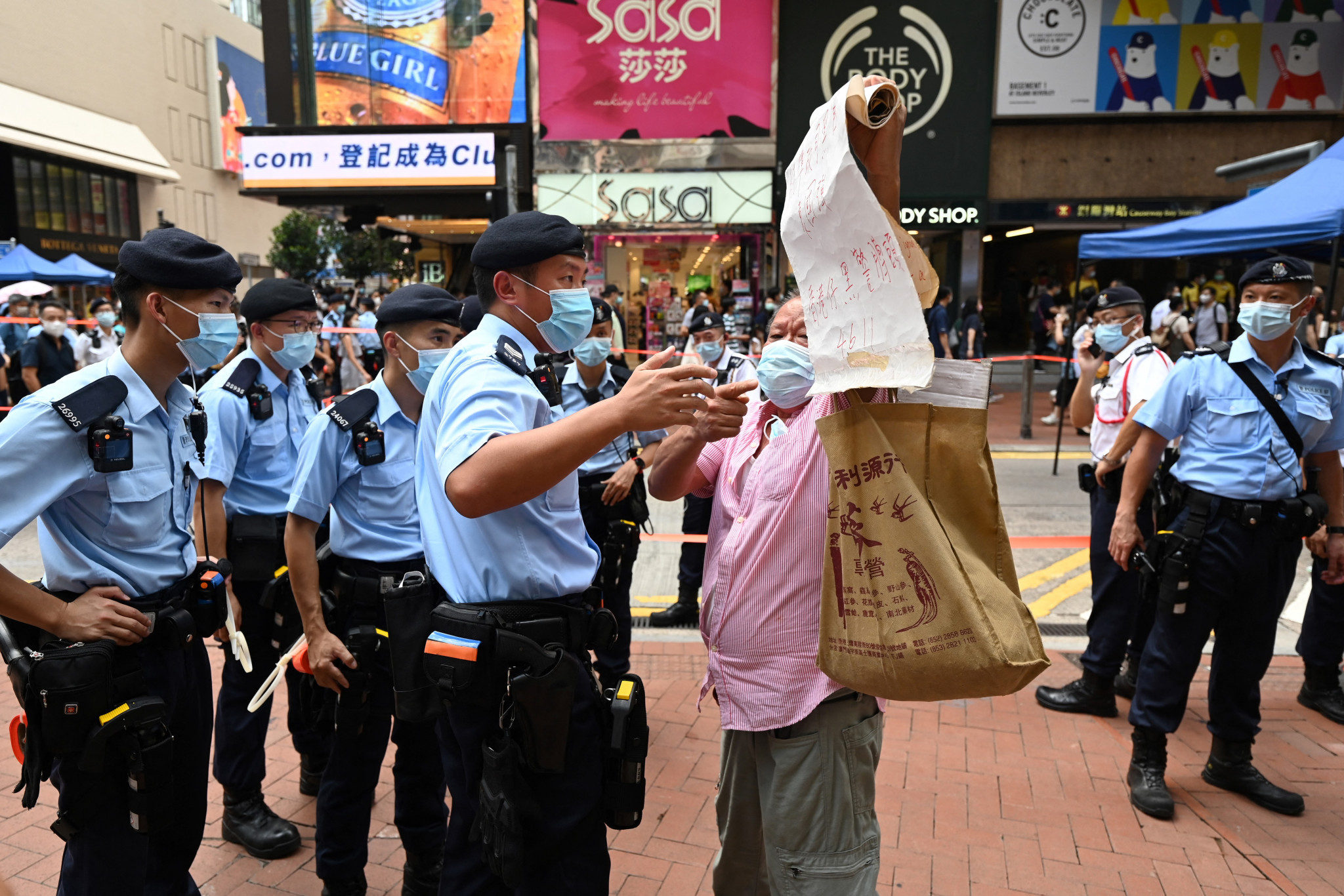A crackdown on democracy campaigners in Hong Kong is among the human rights abuses that earned China criticism in the West ©Getty Images