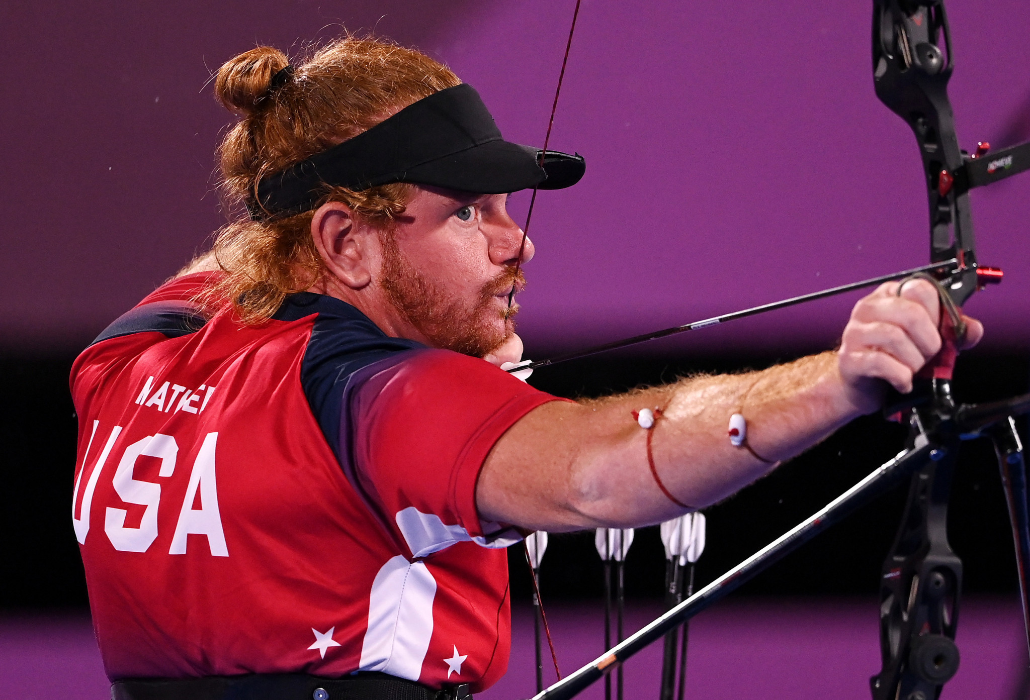 The United States' Kevin Mather earned gold in the men's recurve archery competition ©Getty Images