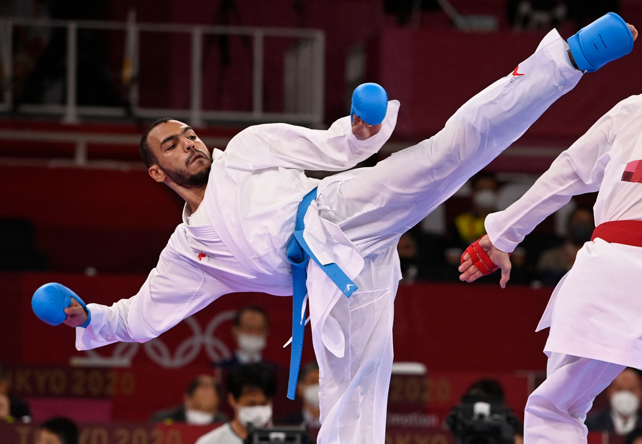 Abdalla Abdelaziz led the way for the host nation, reaching the men's under-75kg kumite final ©Getty Images