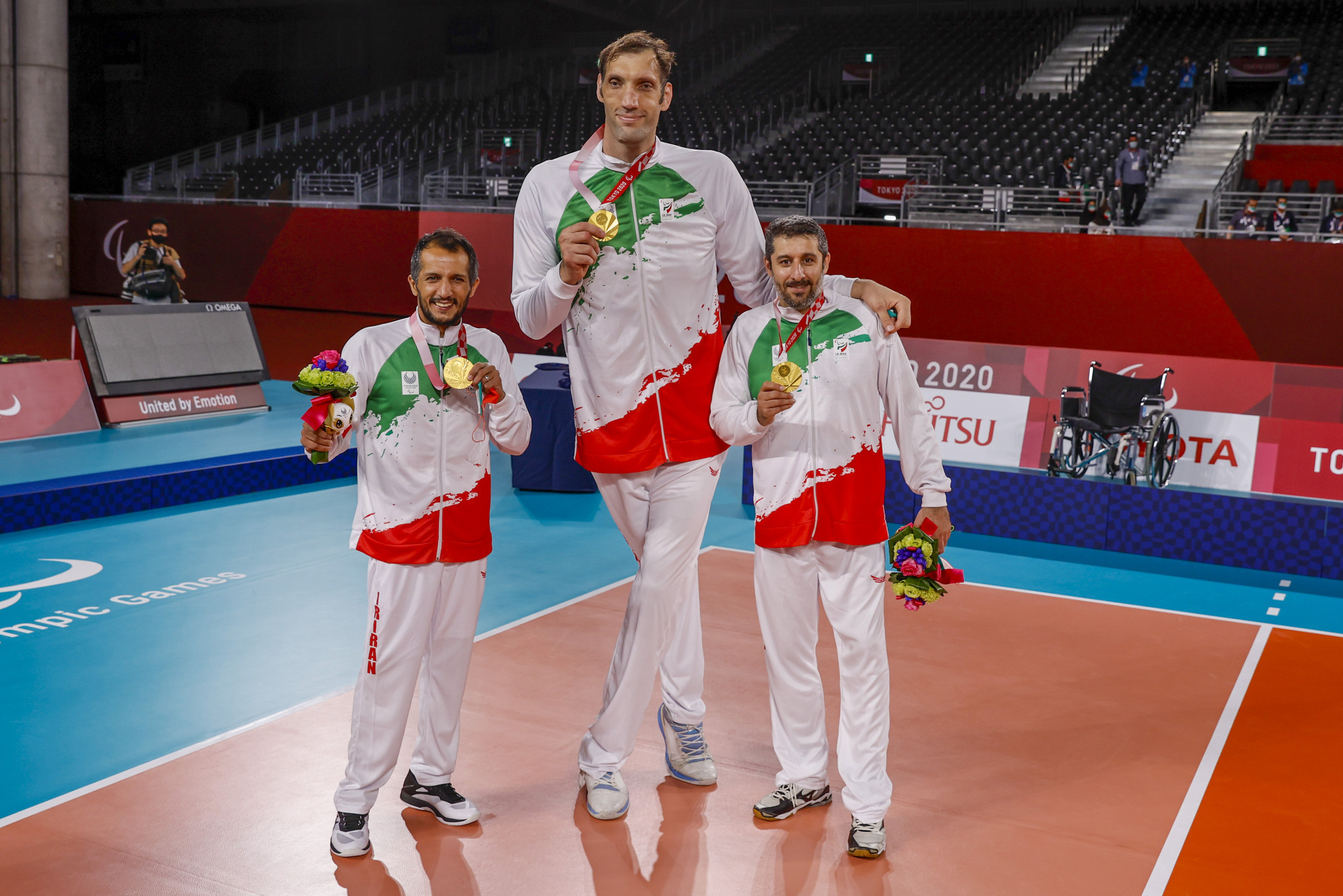 Morteza Mehrzadselakjani, centre, scored 28 points in the gold medal match ©Getty Images