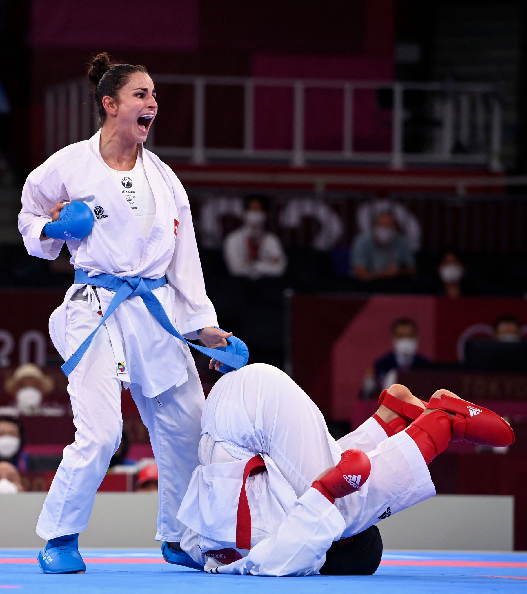 Elena Quirici, left, also progressed at the Karate 1-Premier League in the women's under-68kg kumite after featuring at this summer's Olympic Games ©Getty Images