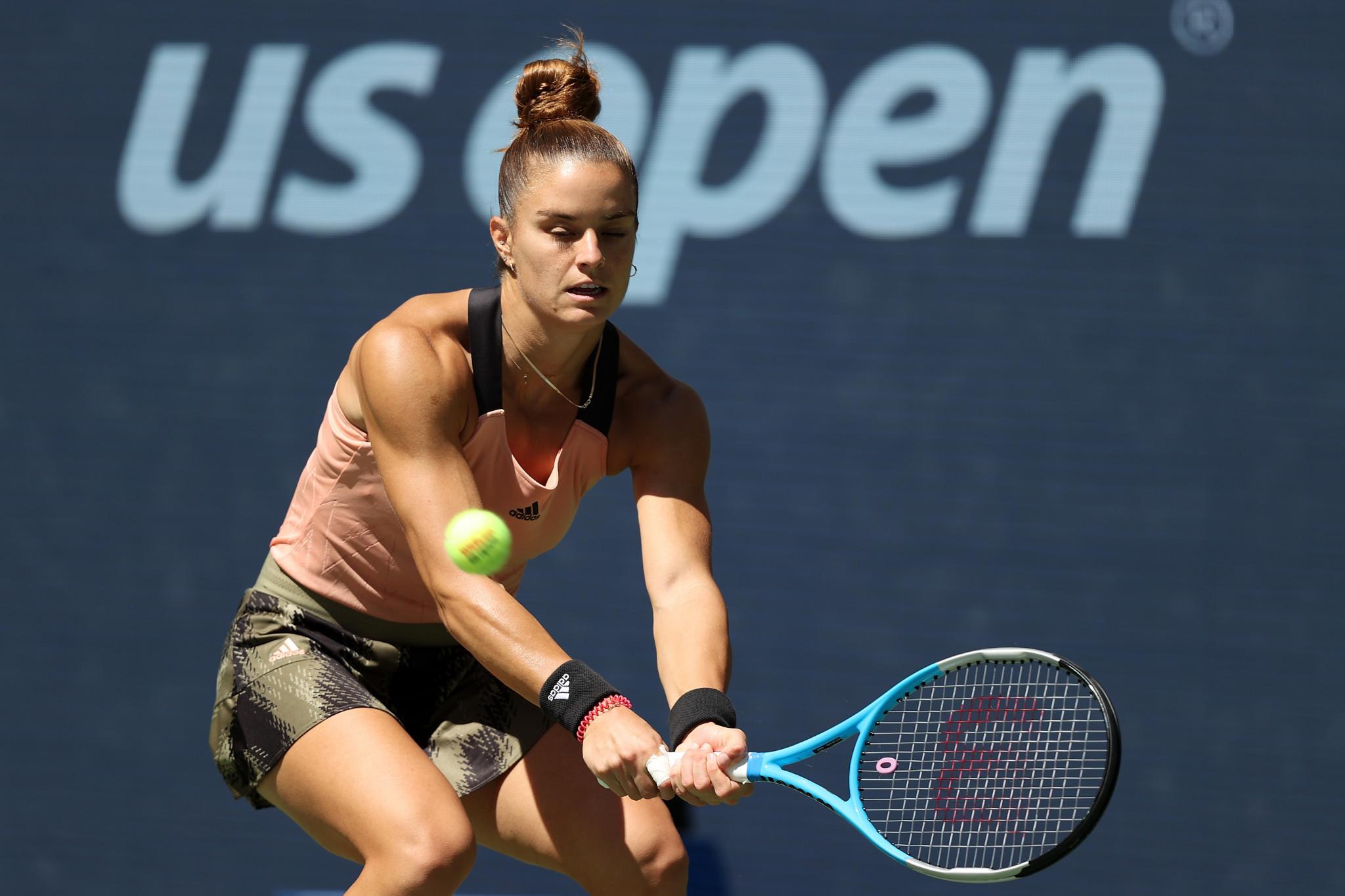 Maria Sakkari beat Petra Kvitova in straight sets in the opening match of the day on Arthur Ashe Stadium ©Getty Images