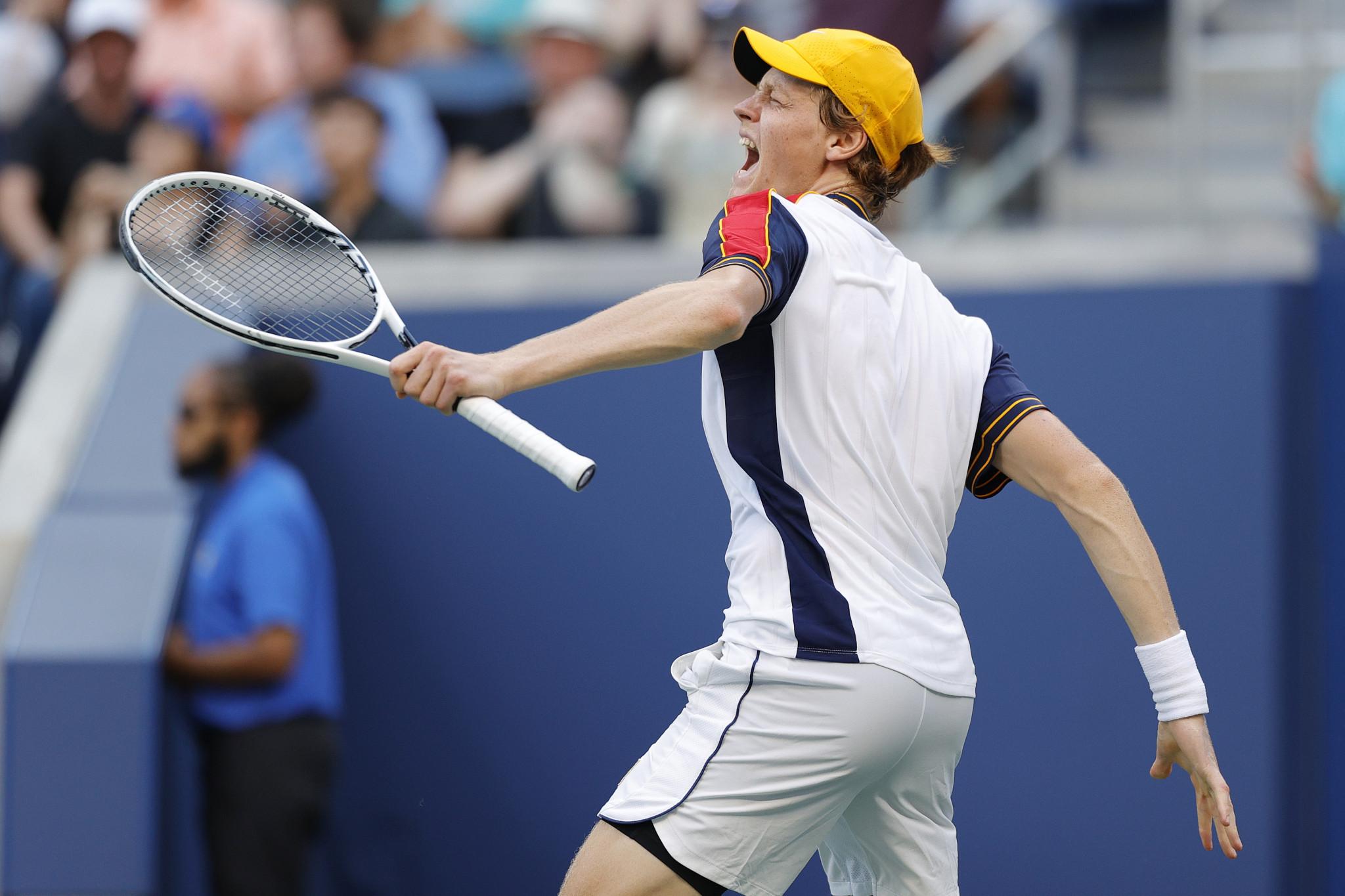 Jannik Sinner celebrates his five-set win over Gael Monfils ©Getty Images