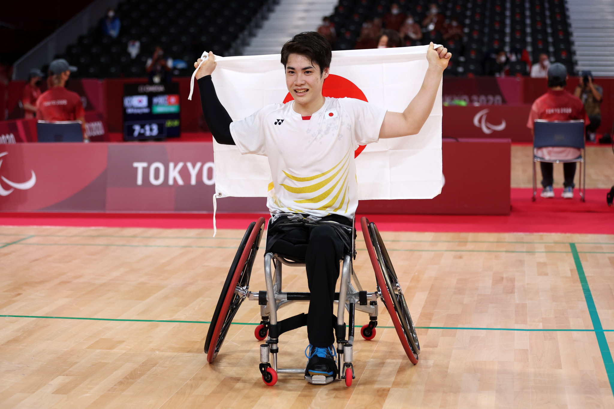 Daiki Kajiwara delivered the first of two Japanese gold medals on the final day of badminton competition at the Paralympic Games at Tokyo 2020 ©Getty Images