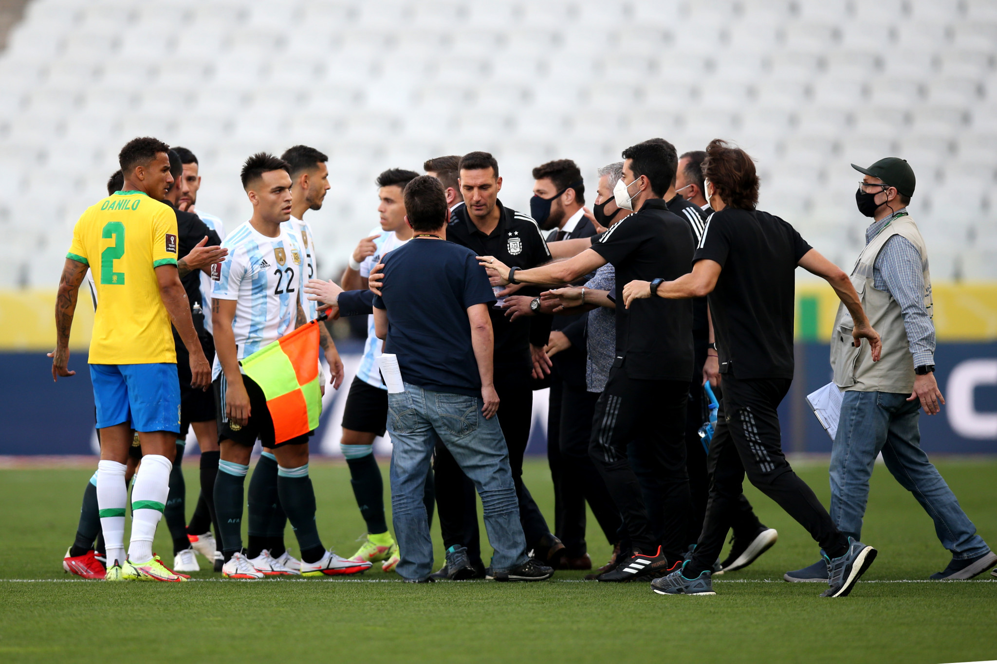 Four Argentinian players were released from the squad after the health officials stormed the pitch after 10 minutes to abandon the game their Brazil in São Paulo ©Getty Images