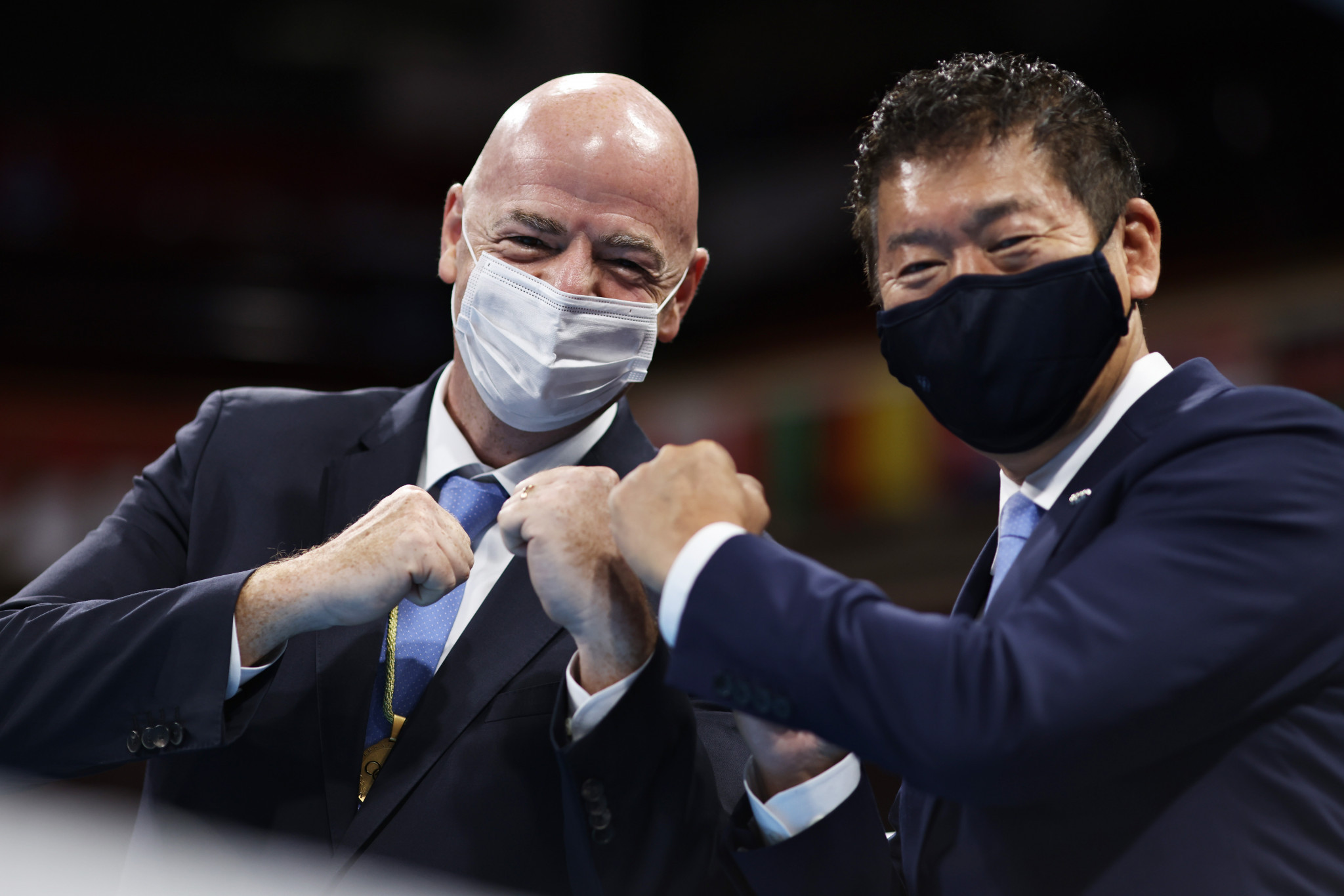 FIFA President Gianni Infantino, left, is an IOC member and attended the Tokyo 2020 Olympics ©Getty Images