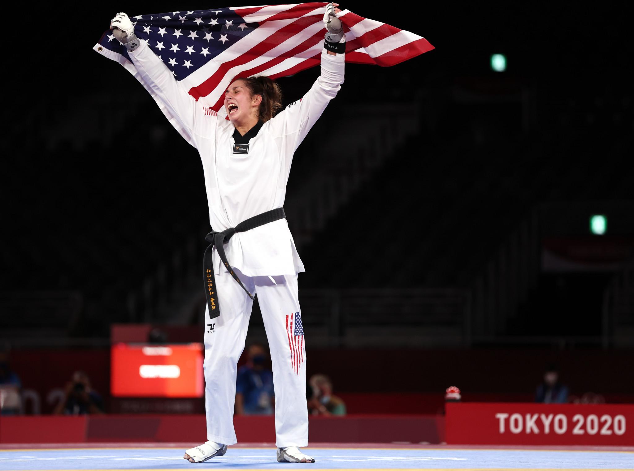Anastasija Zolotic won Olympic taekwondo gold for the United States at Tokyo 2020 ©Getty Images