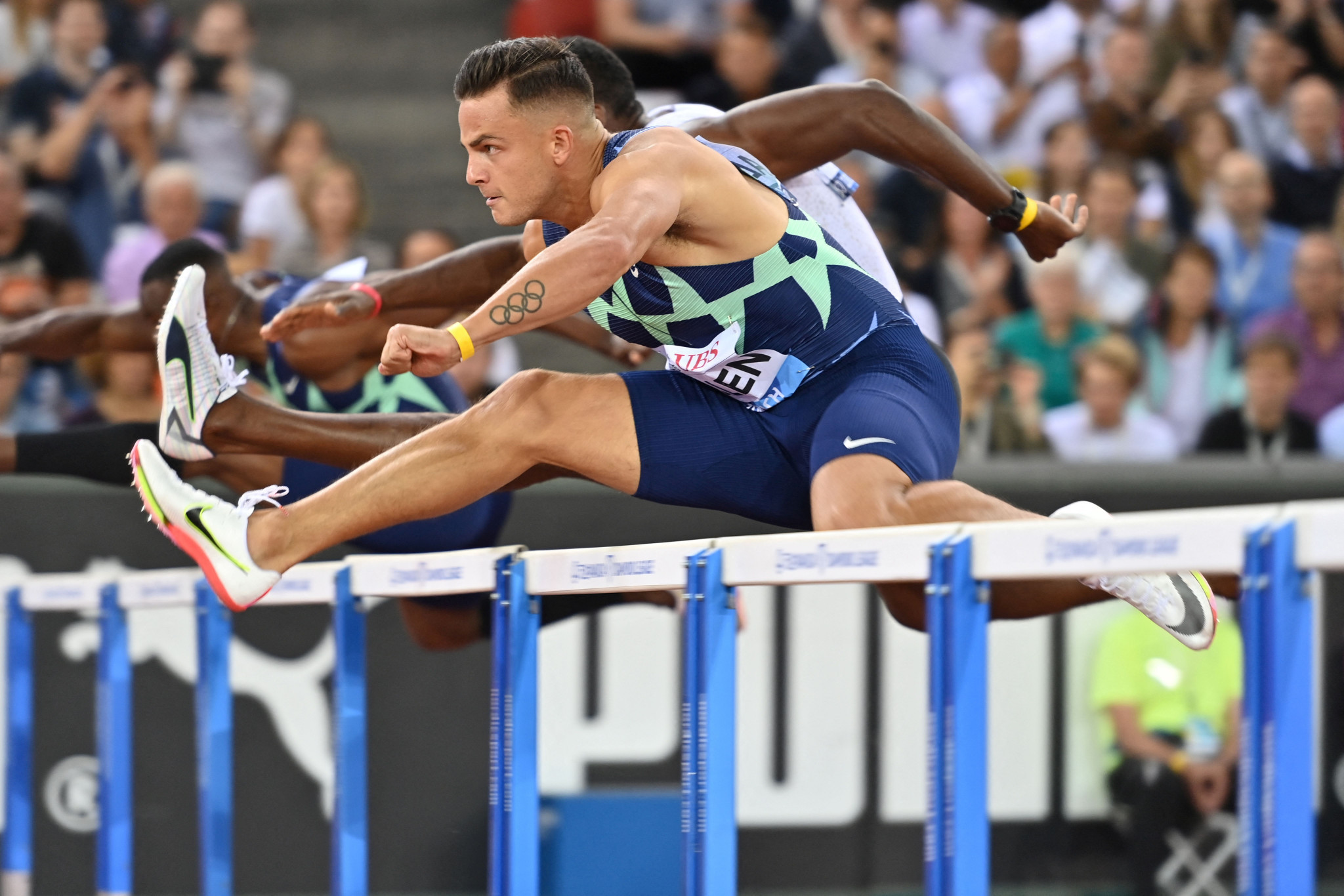 Devon Allen won the 110m hurdles by the tightest of margins ©Getty Images