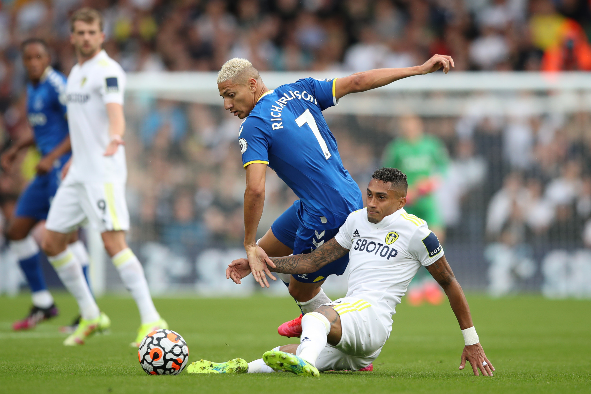 Leeds United's and Brazil's Raphinha, right, had been set to miss out on this weekend's match against Liverpool, although no complaint was made against his compatriot Richarlison, centre, of Everton ©Getty Images