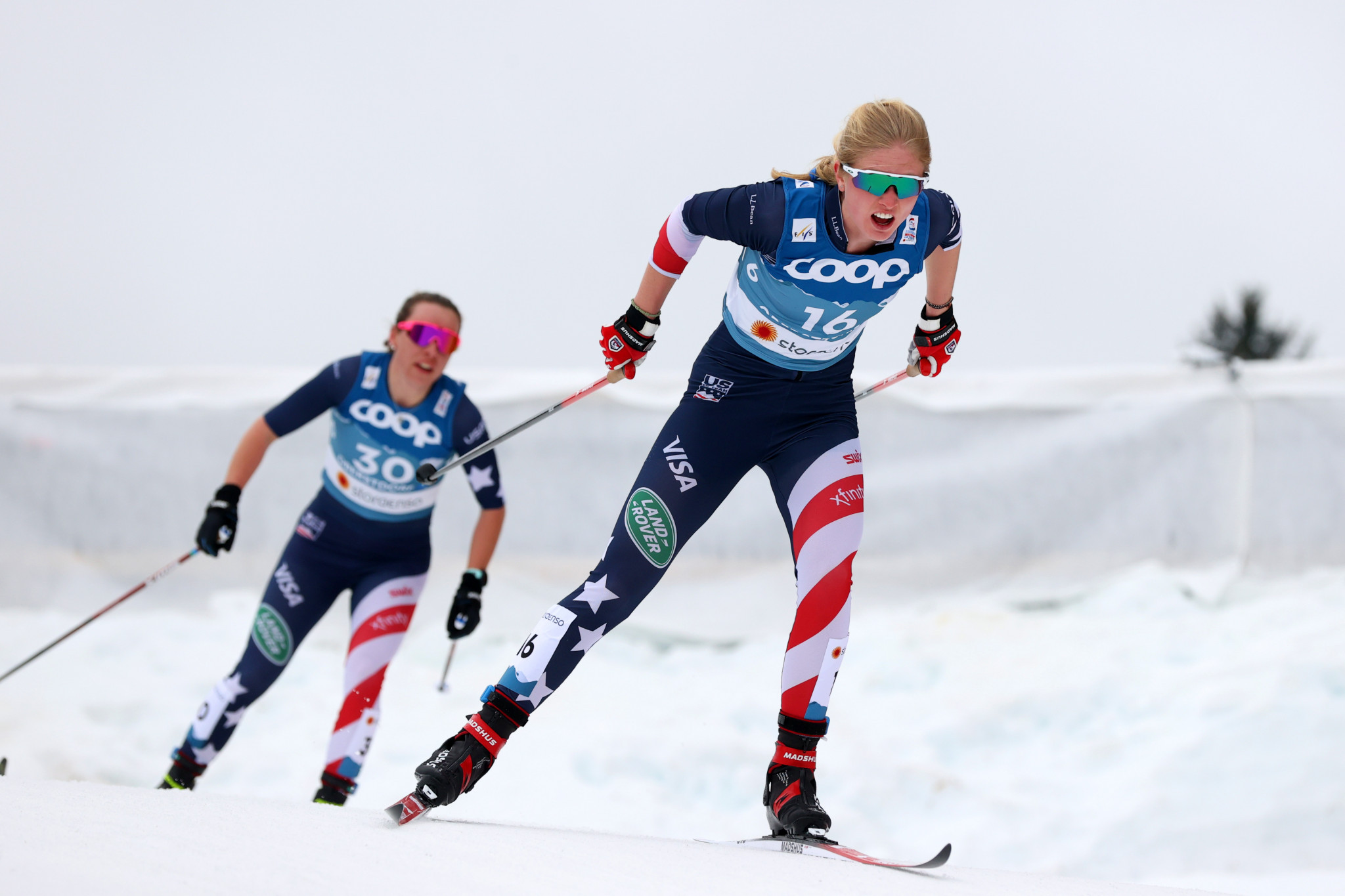 Hailey Swirbul, right, admitted the FIS Cross-Country World Cup is