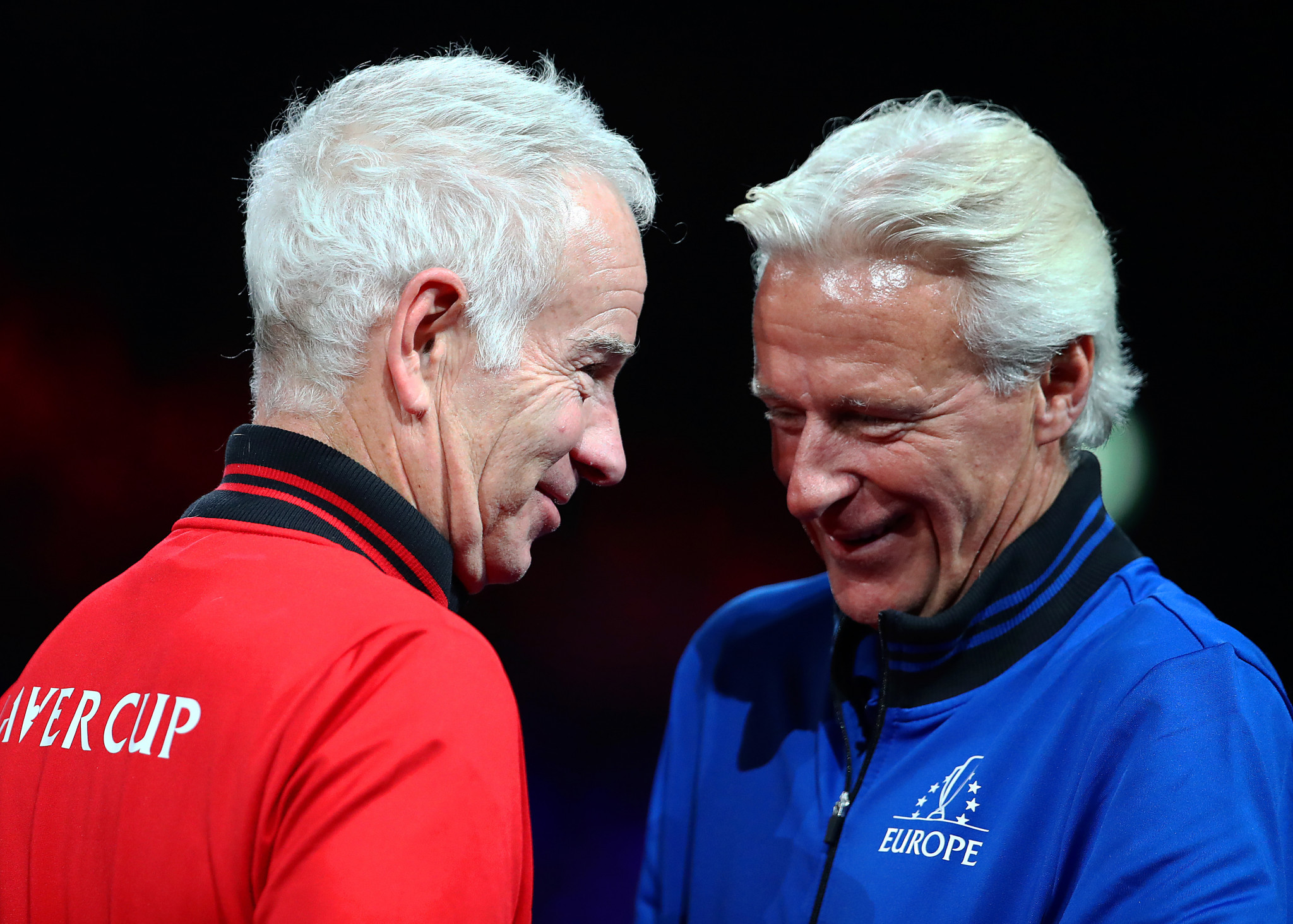 Face-to-face again, John McEnroe and Bjorn Bjorg, respective non-playing captains for Team World and Team Europe before the 2019 Laver Cup ©Getty Images