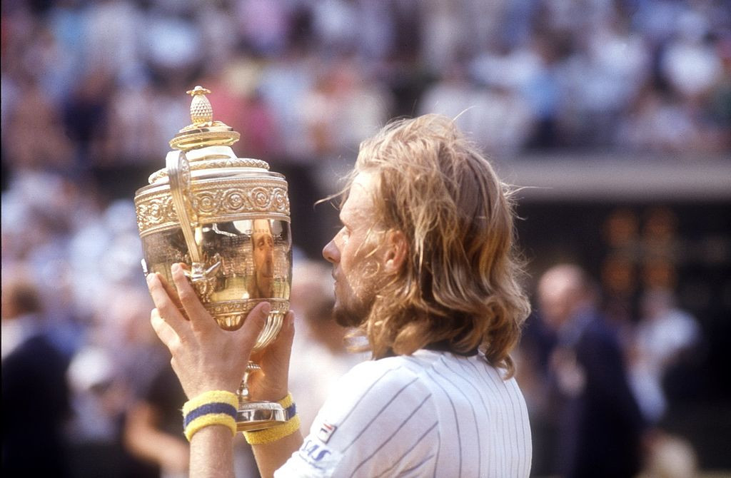 The image of success...Bjorn Borg, 20, earns the first of what will be six consecutive Wimbledon men's singles titles in 1976 ©Getty Images