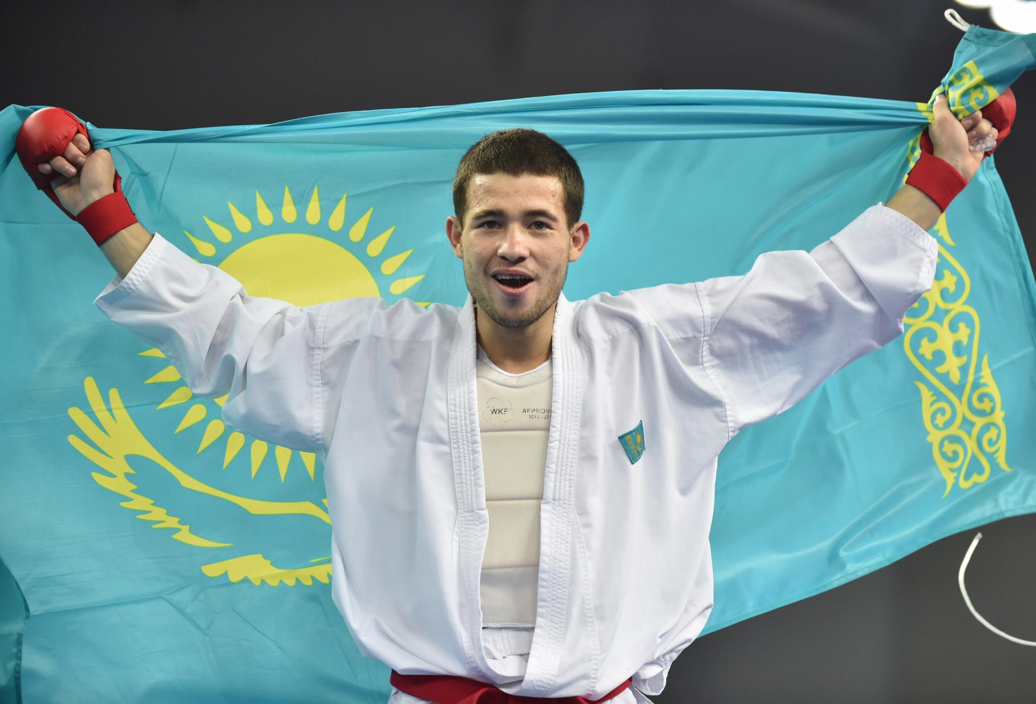 Kazakhstan's Andrey Aktauov won the men's under-55kg kumite gold medal at the 2019 Asian Championships ©Getty Images