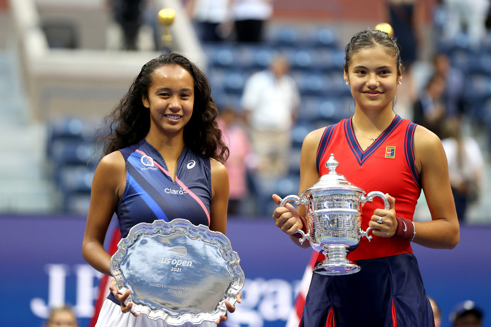 Emma Raducanu, right, defeated Leylah Fernandez in the US Open final, both teenage sensations displaying the complexities and delights of multi-national sports stars ©Getty Images